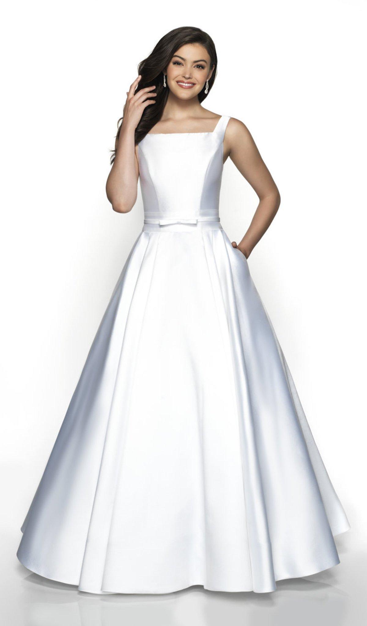 Flair Prom - 19018 Square Neck Sleeveless Mikado A-Line Prom Dress