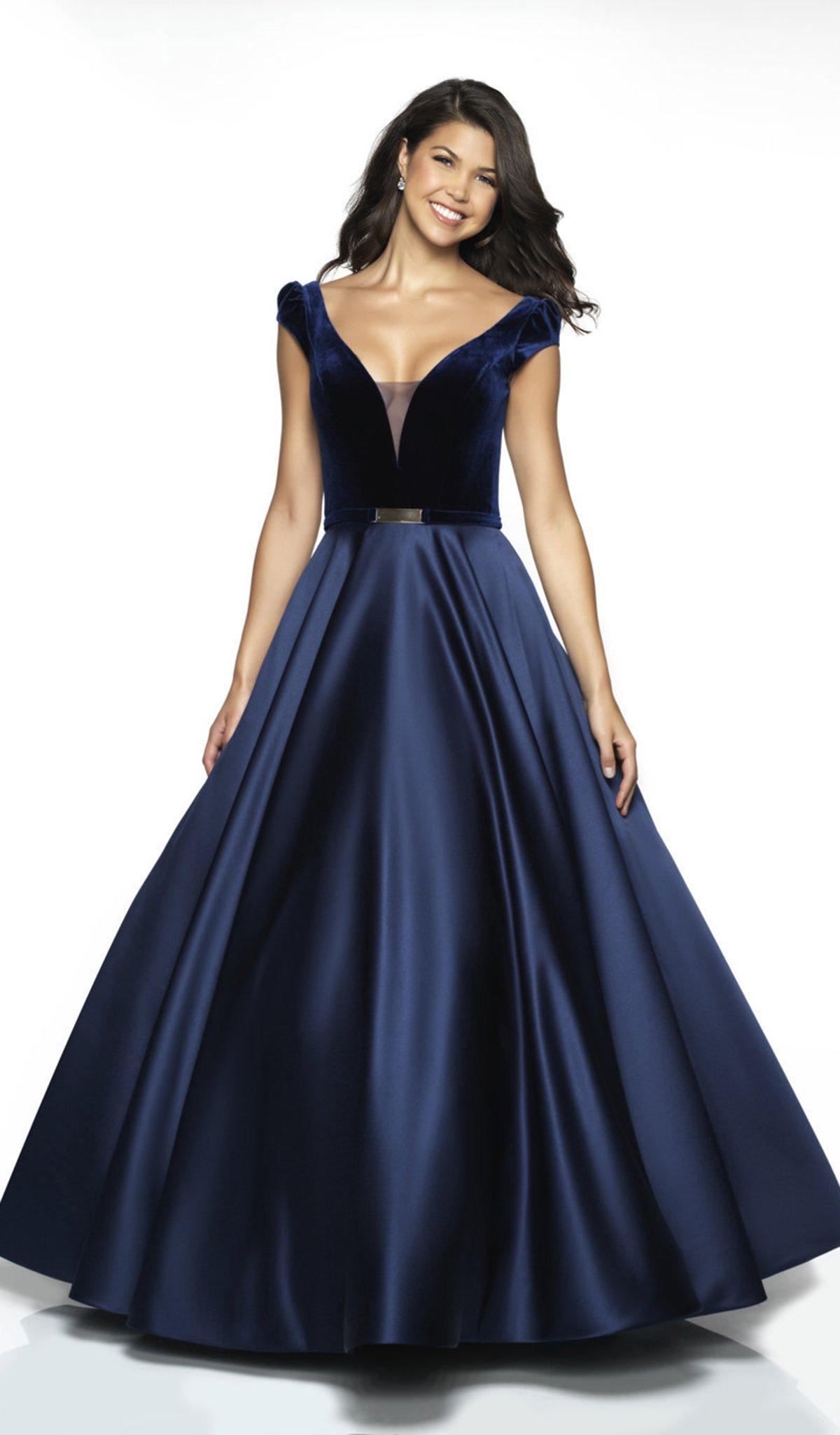 Flair Prom - 19030 Velvet Deep V-neck Satin Ballgown