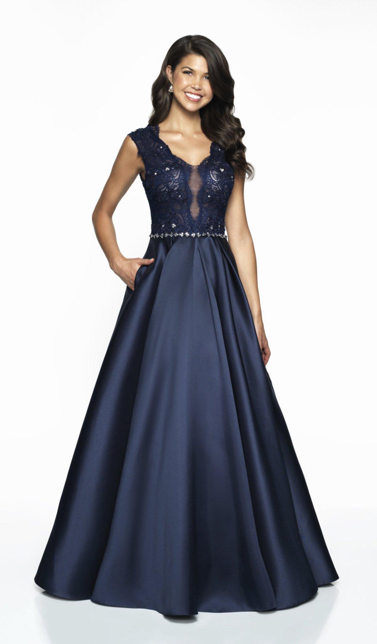 Flair Prom - 19057 Lace V-neck Mikado A-line Dress