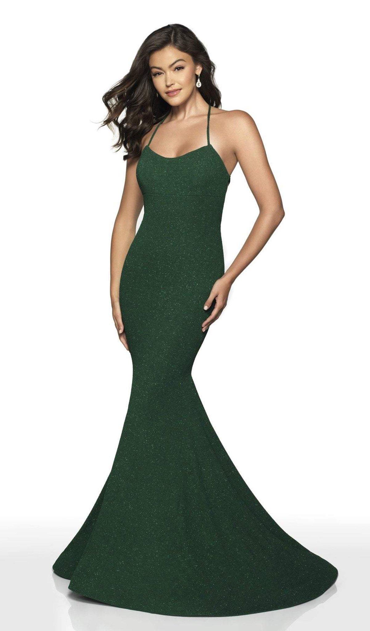 Intrigue by Blush - 518 Halter Glitter Jersey Mermaid Dress