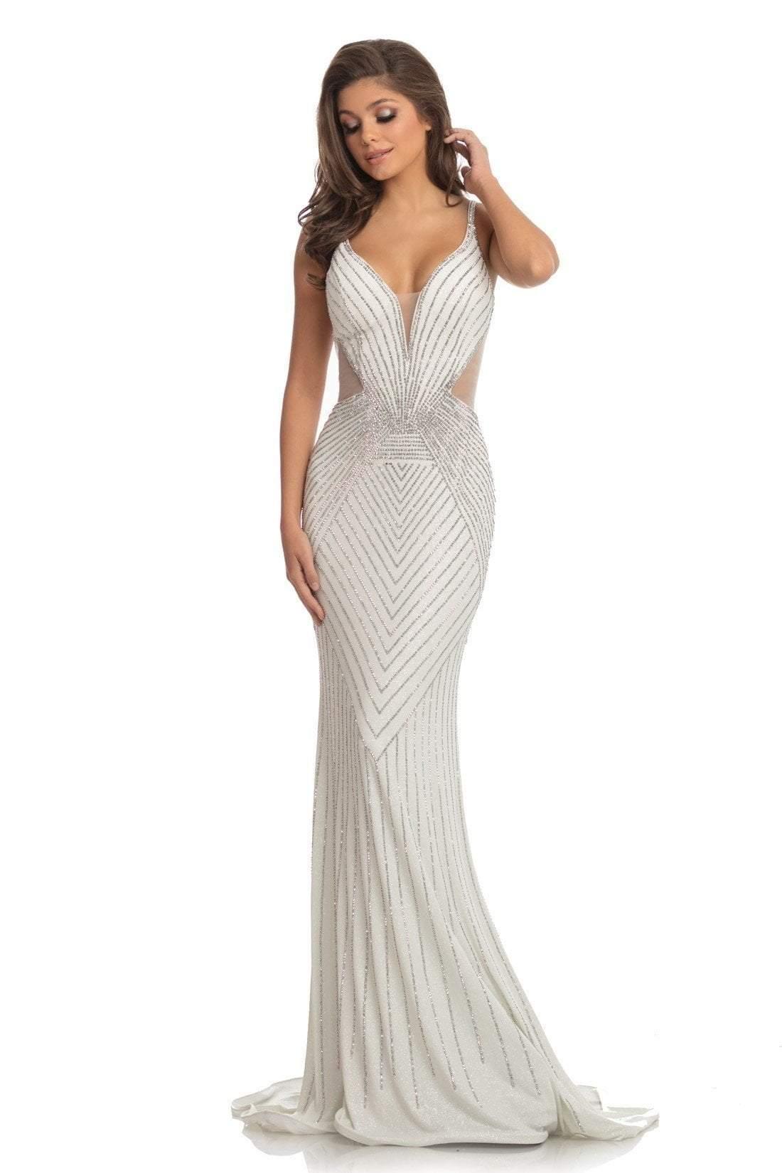 Johnathan Kayne - 9049 Embellished Deep V-neck Trumpet Dress