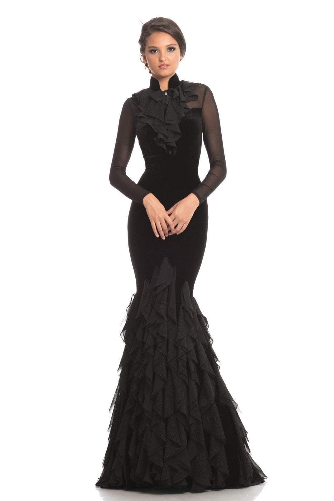 Johnathan Kayne - 9052 Long Sleeve High Neck Ruffled Mermaid Dress