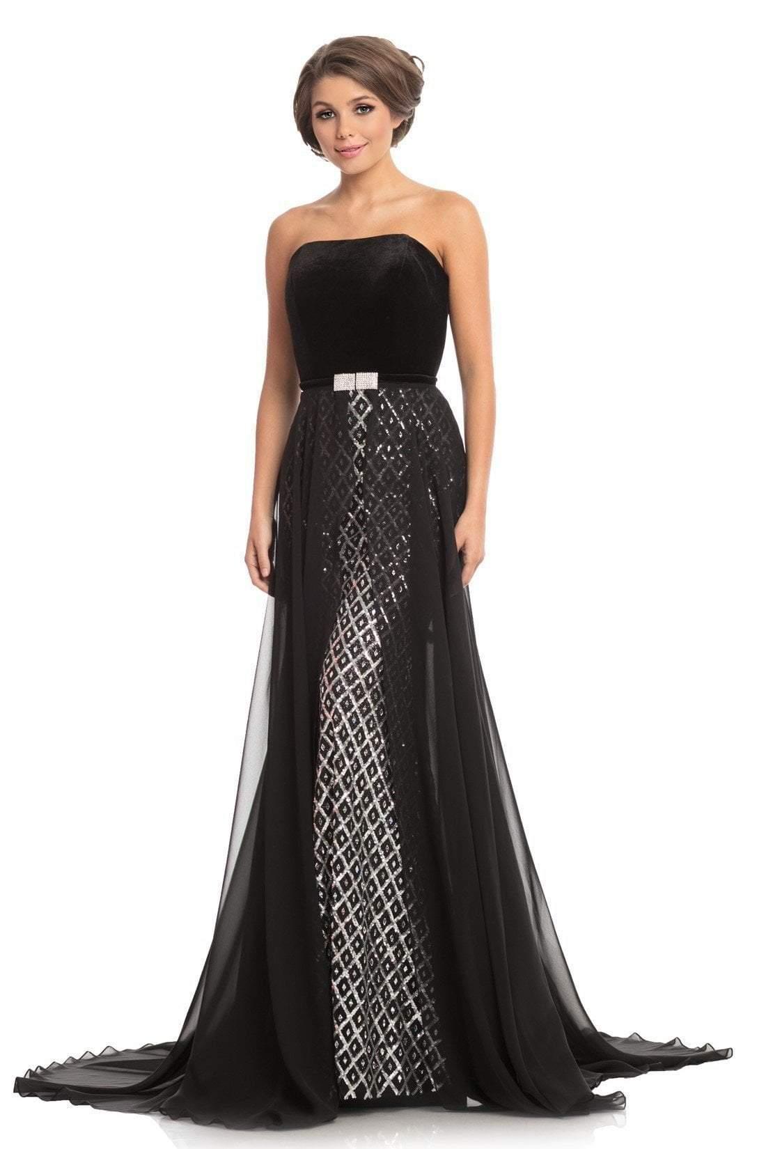 Johnathan Kayne - 9053 Embellished Trumpet Dress With Overskirt