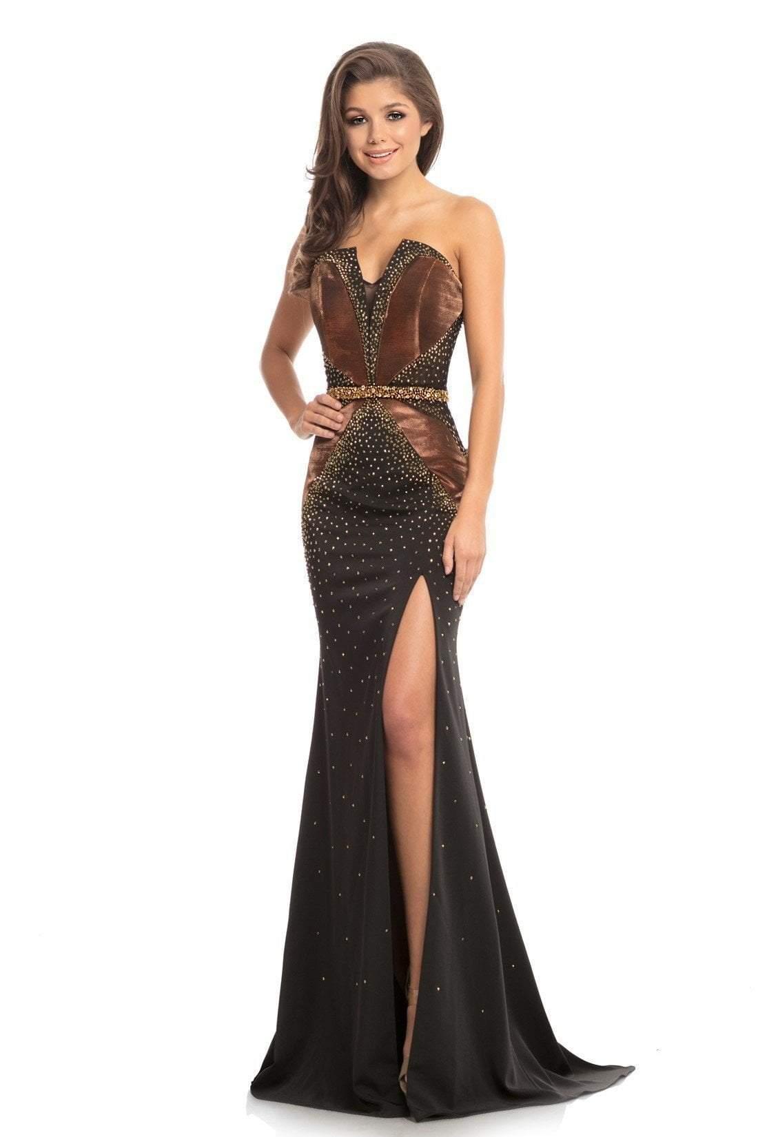 Johnathan Kayne - 9055 Embellished V-neck Trumpet Dress With Slit