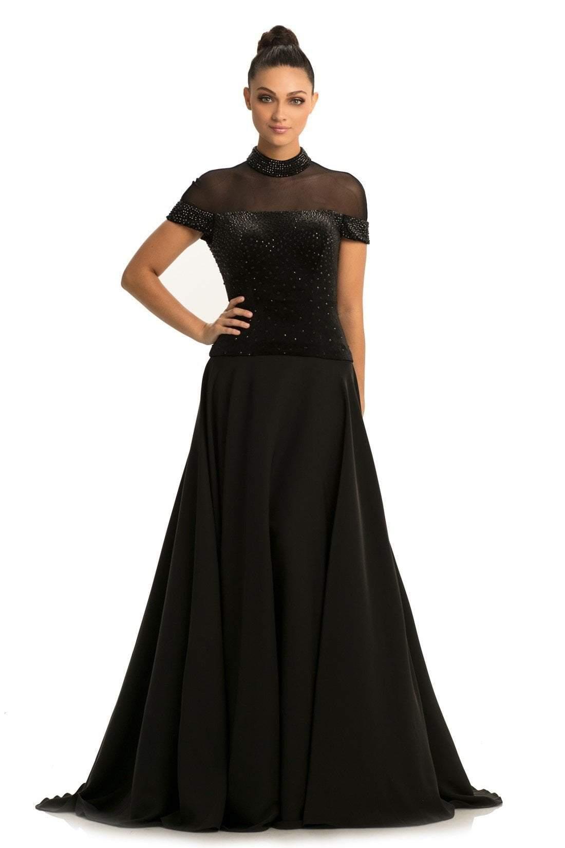 Johnathan Kayne - 9057 Embellished Velvet High Neck A-line Dress
