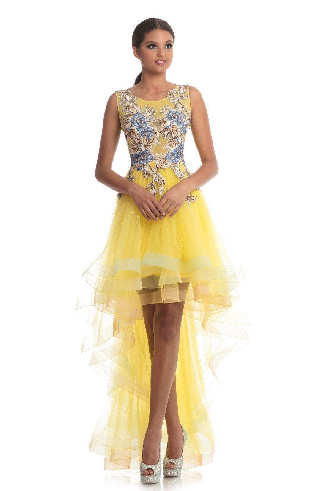Johnathan Kayne - 9065 Floral Applique High Low A-line Dress