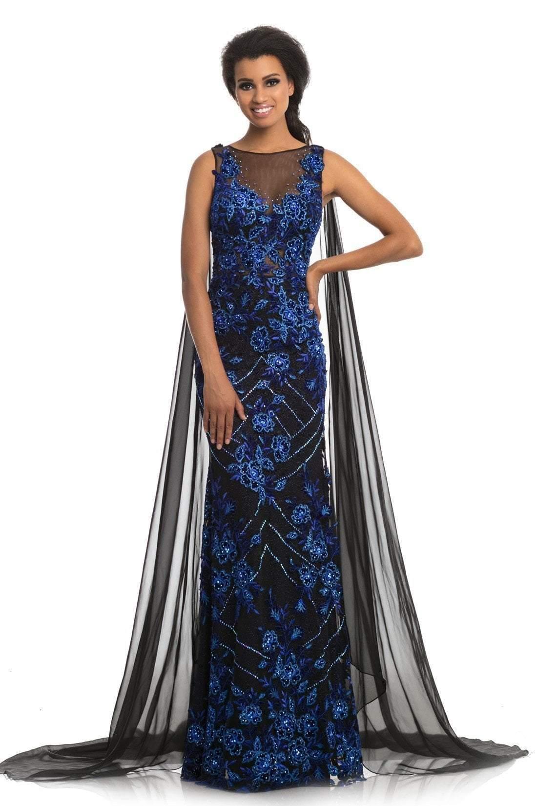 Johnathan Kayne - 9085 Embroidered Illusion Bateau Trumpet Dress