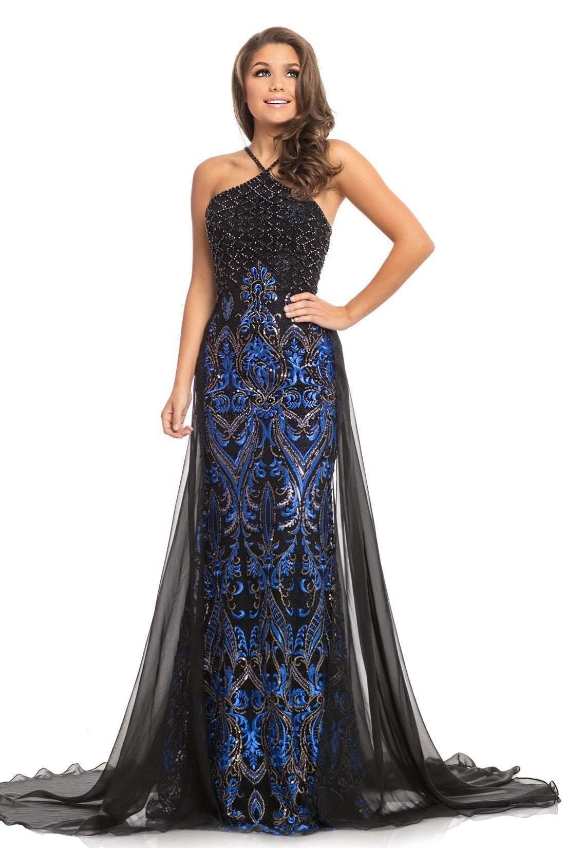 Johnathan Kayne - 9088 Embellished Halter Trumpet Dress With Overskirt