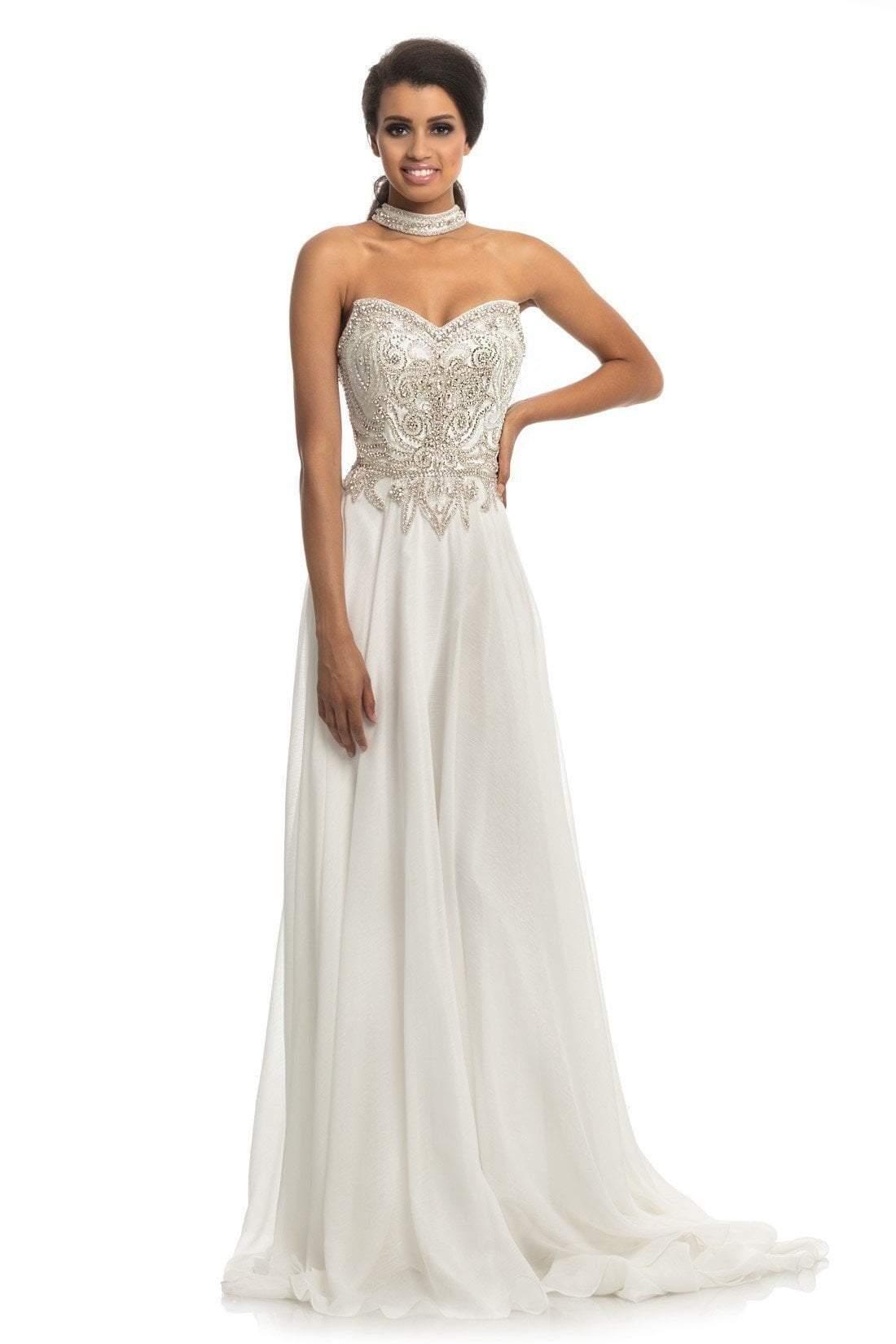 Johnathan Kayne - 9111 Embellished Chiffon Satin A-line Dress