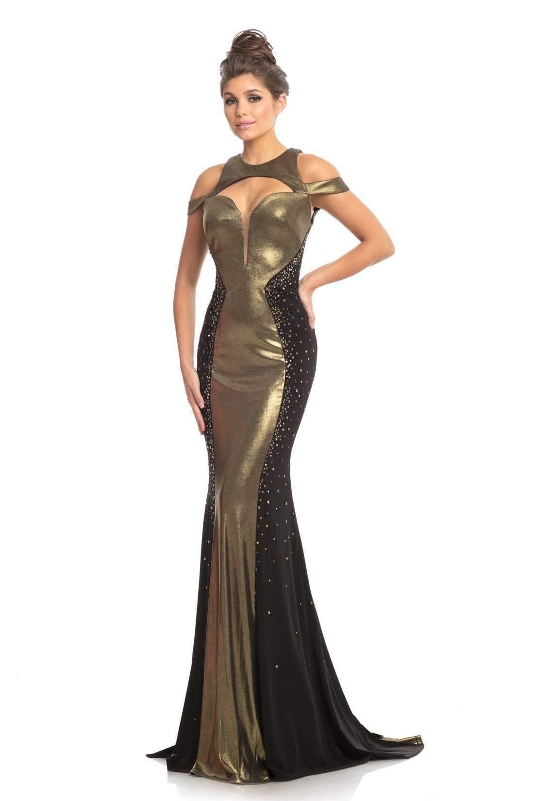 Johnathan Kayne - 9118 Two Tone Embellished Jersey Trumpet Dress