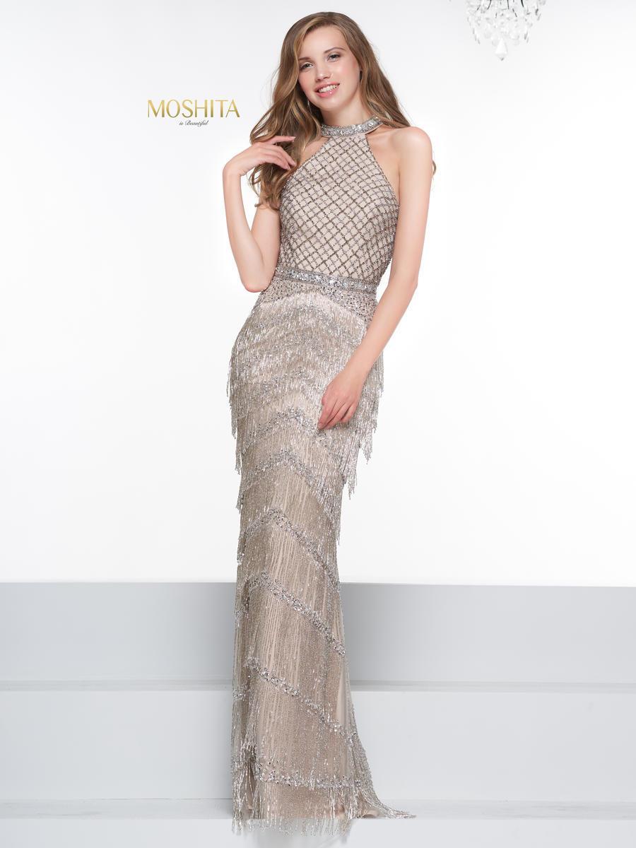 Colors Couture - J074 Beaded Halter Fringe Sheath Dress