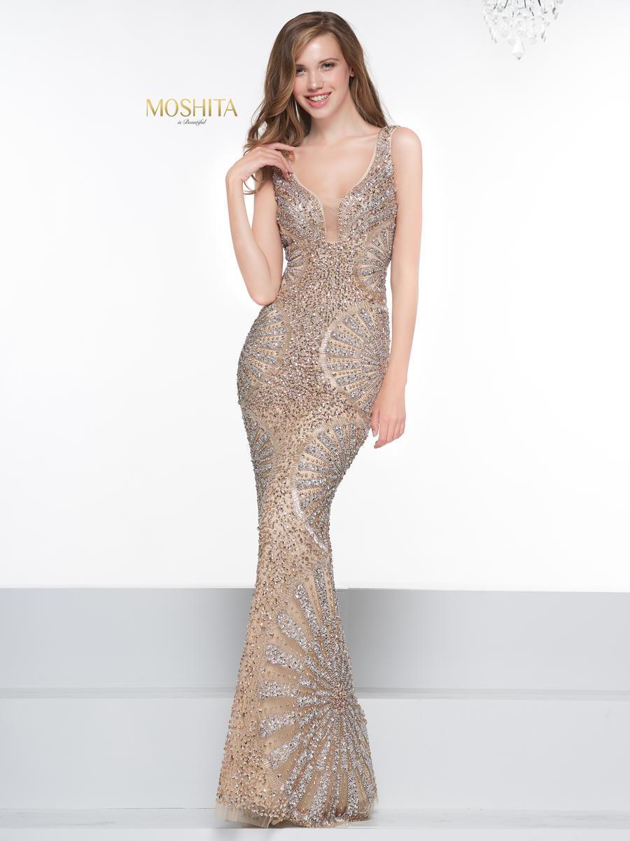 Colors Couture - J077 Beaded Deep V-neck Trumpet Dress
