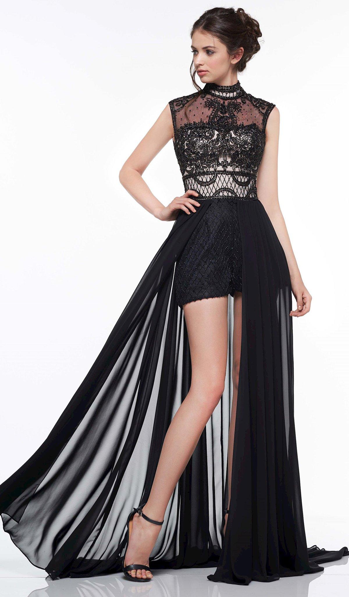 Colors Dress - 2036 Beaded High Neck Chiffon Romper A-line Dress