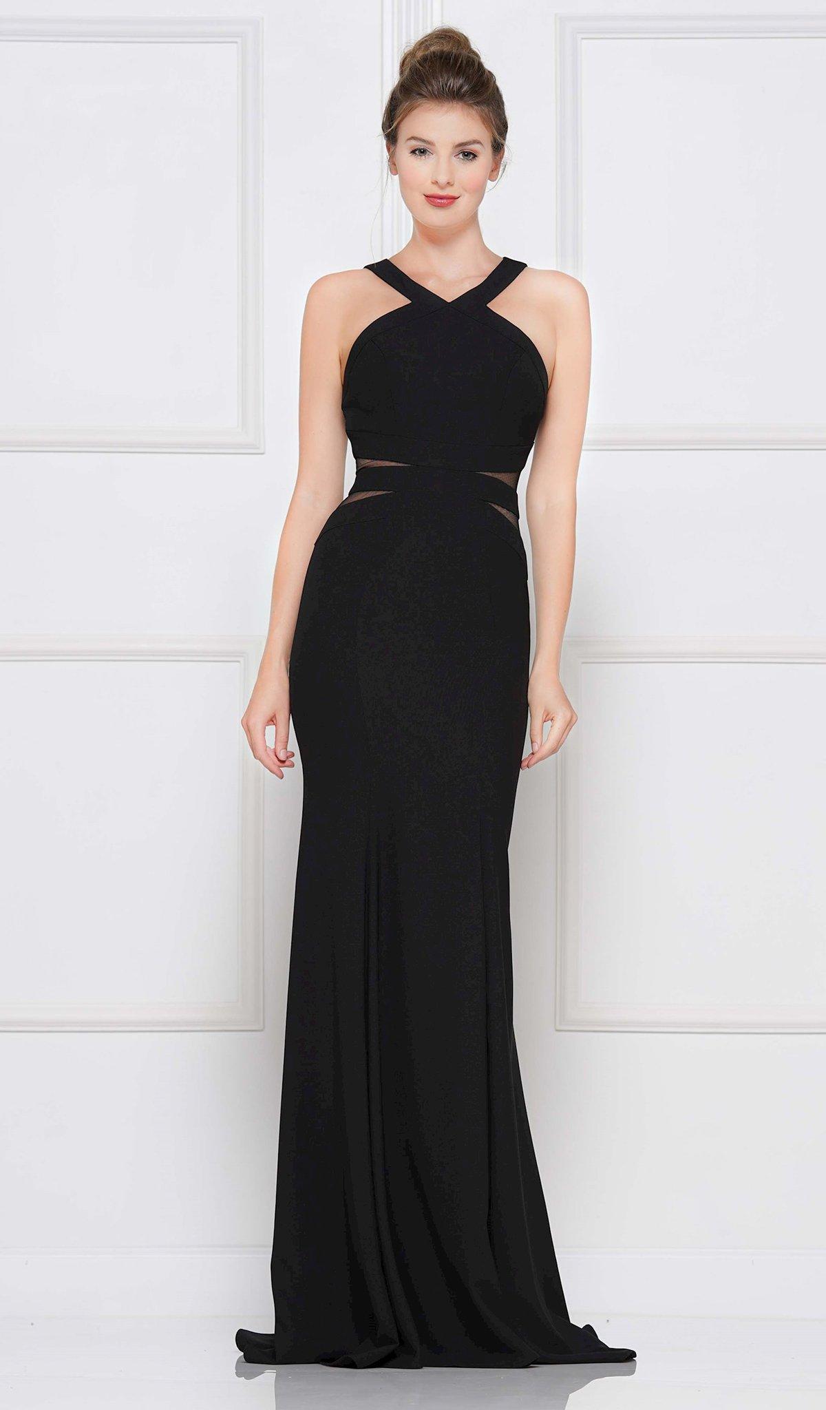 Colors Dress - 2049 Sleeveless Halter Stretch Crepe Trumpet Dress