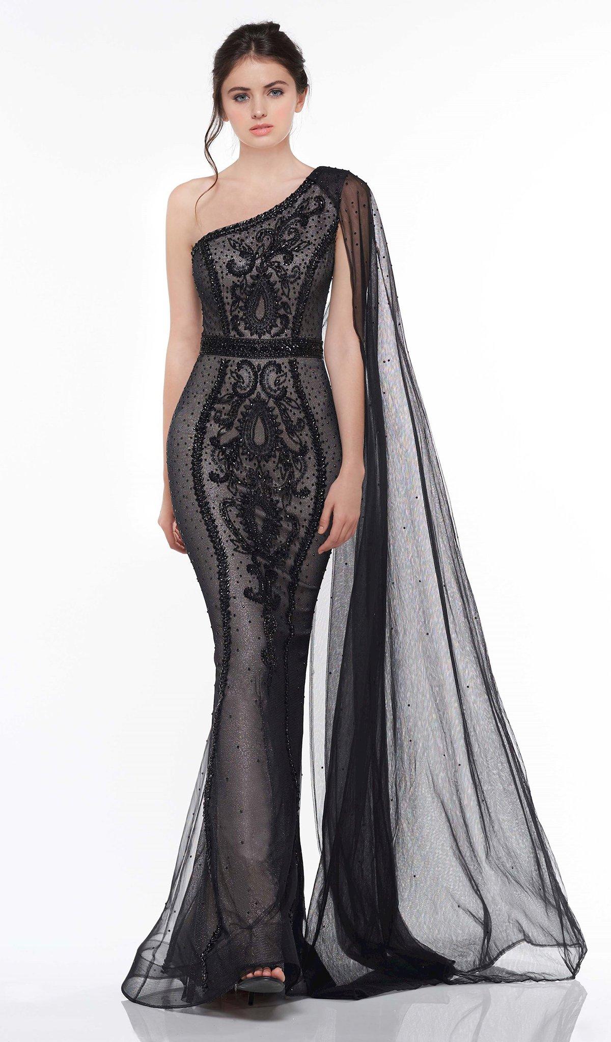 Colors Dress - 2058 Embellished One Shoulder Trumpet Dress