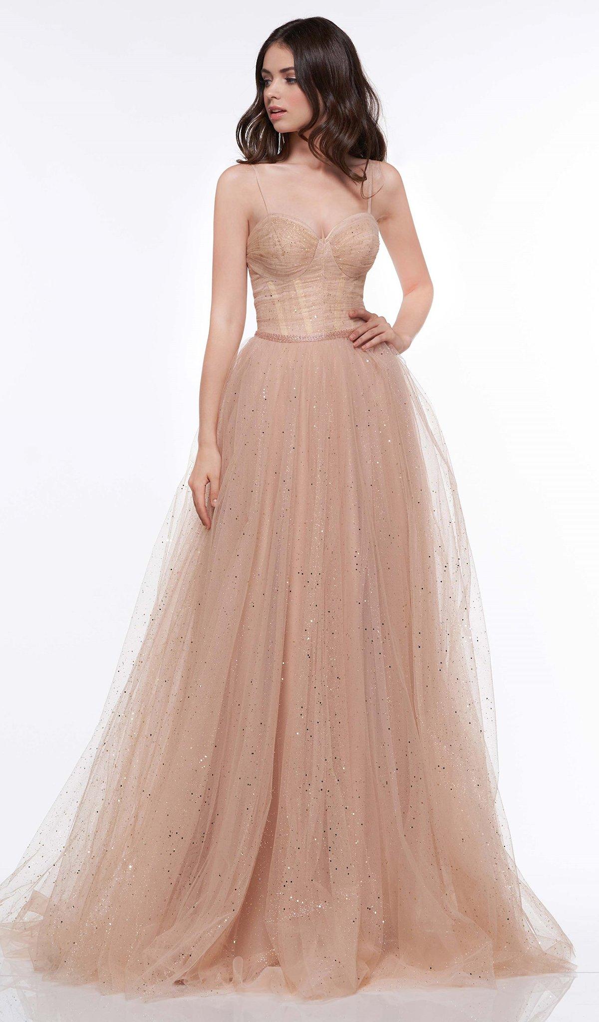 Colors Dress - 2072 Corset Bodice Glitter Mesh Gown