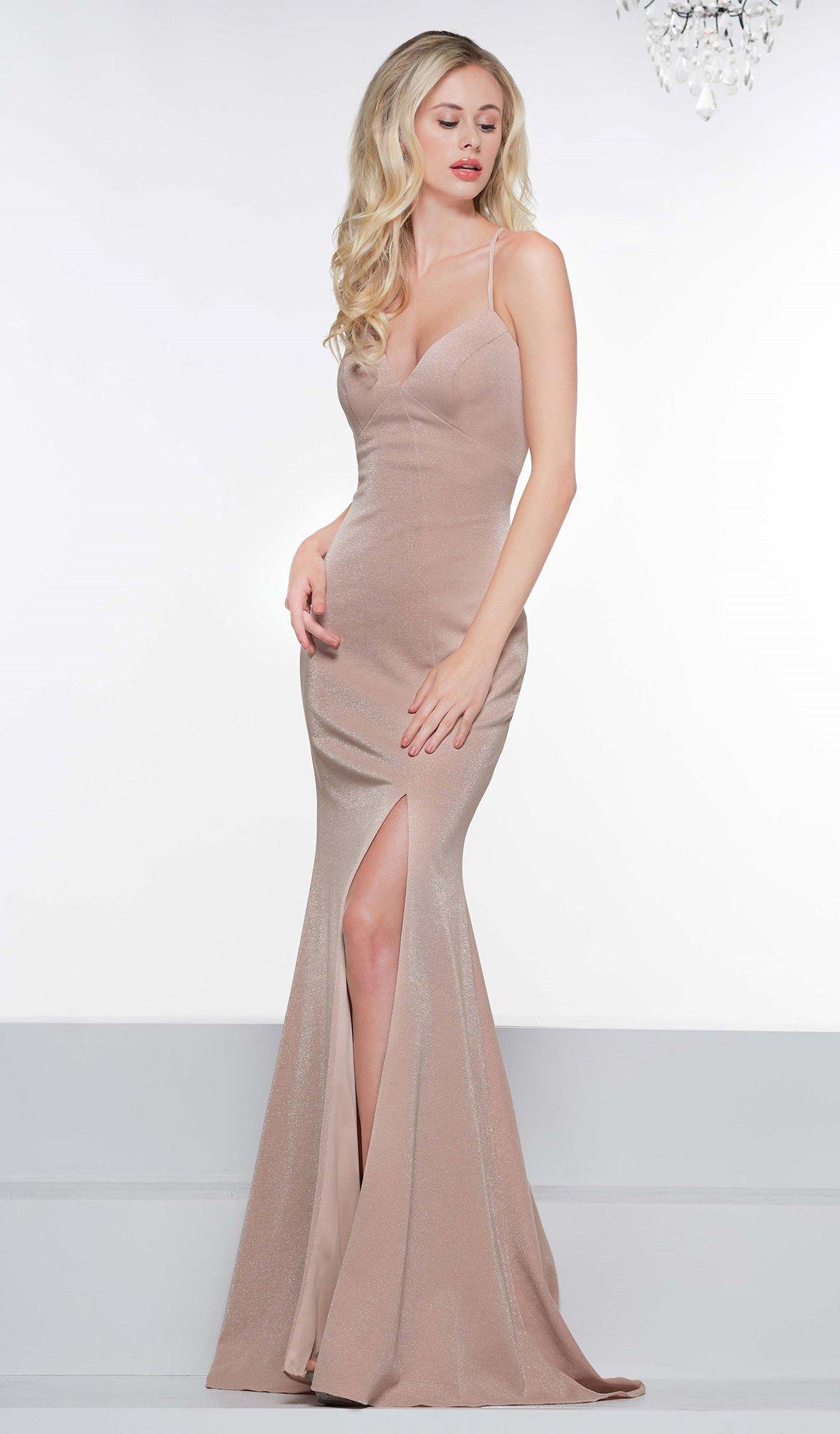 Colors Dress - 2085 Metallic Knit Plunging V-neck Trumpet Dress