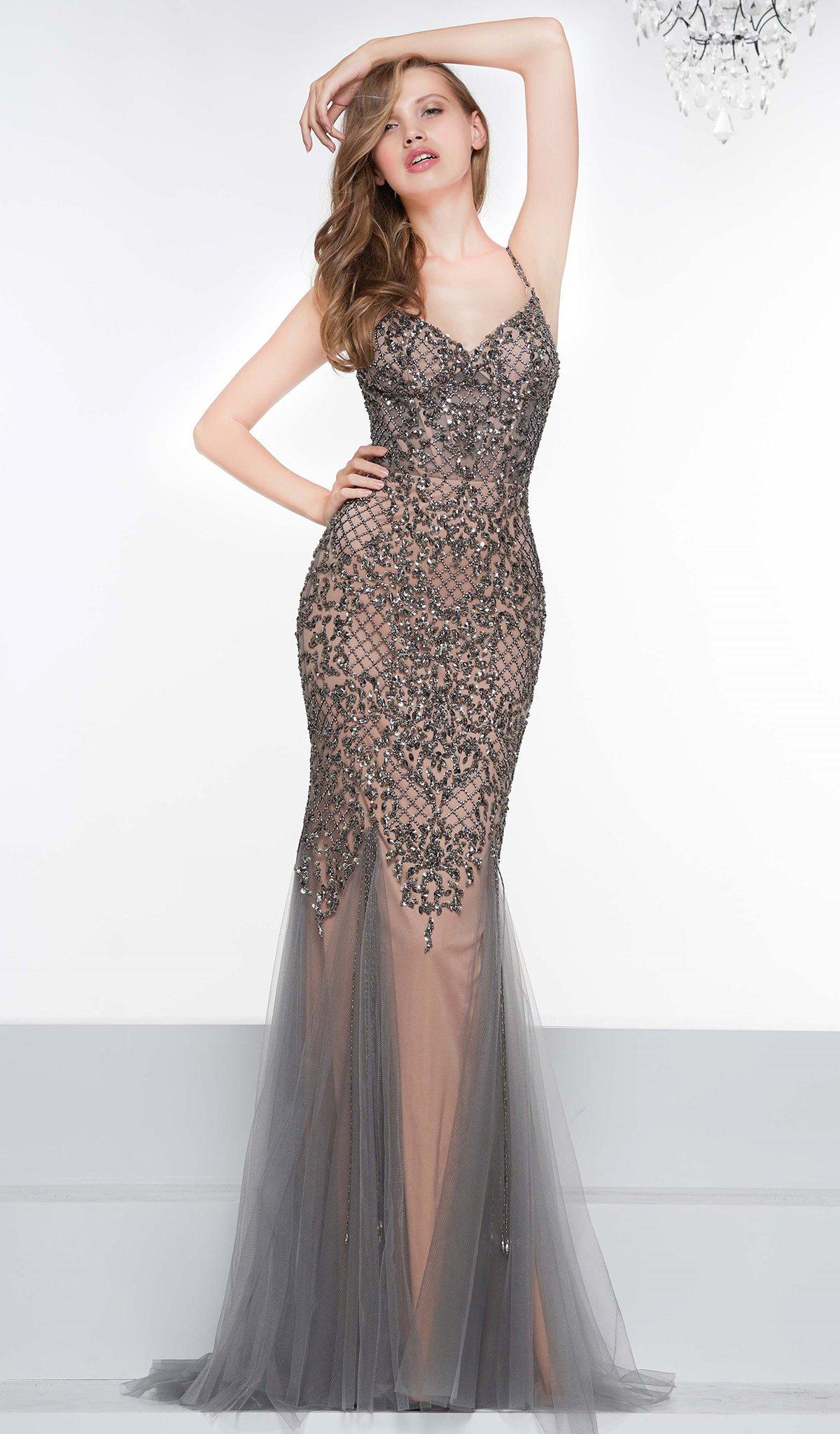 Colors Dress - 2091 Metallic Lattice Beaded Illusion Corset Gown