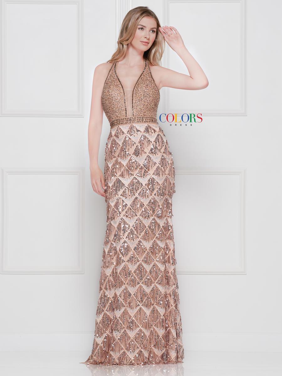 Colors Dress - 2093 Sequined Deep V-neck Sheath Dress