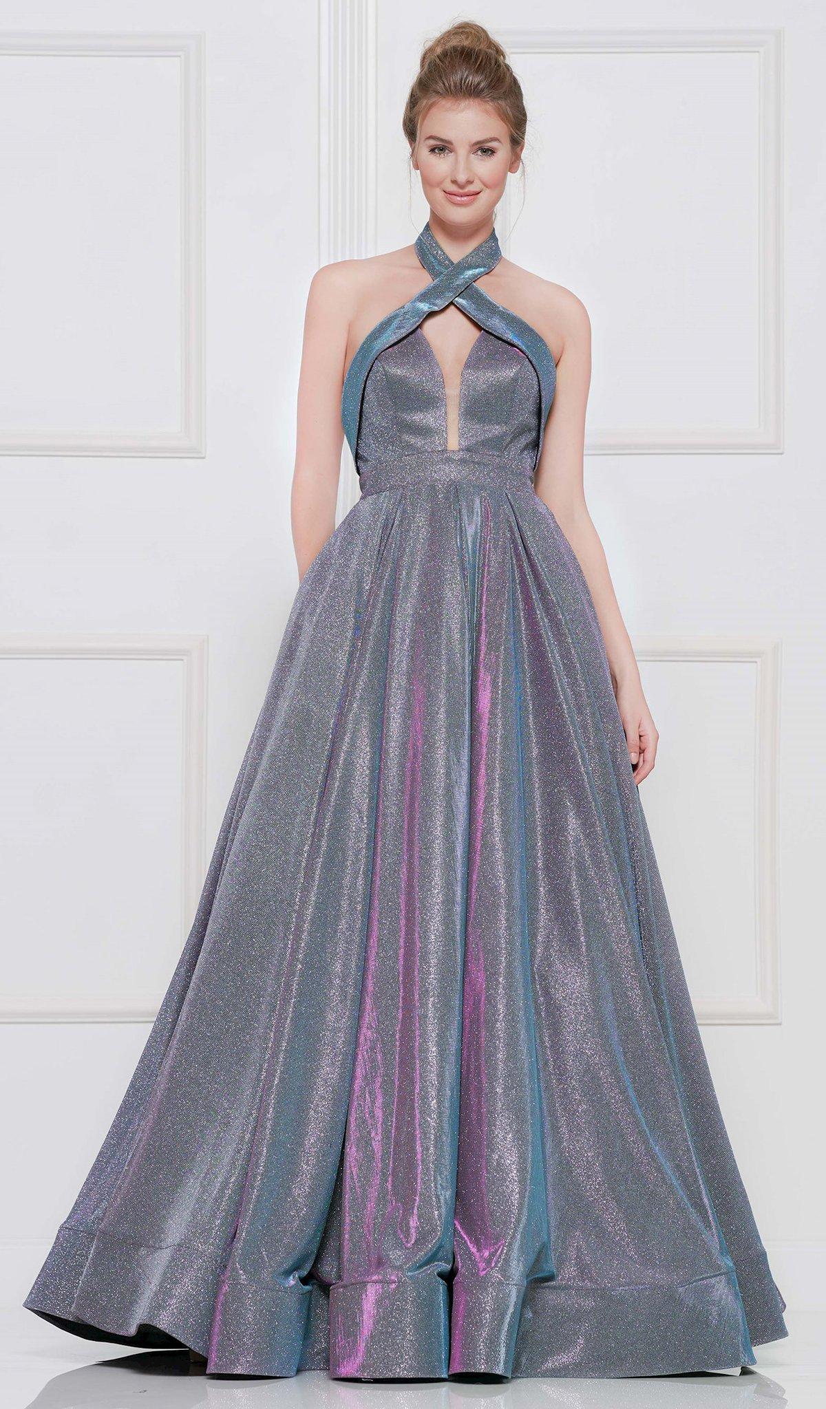 Colors Dress - 2094 Metallic Glitter Knit Halter Ballgown