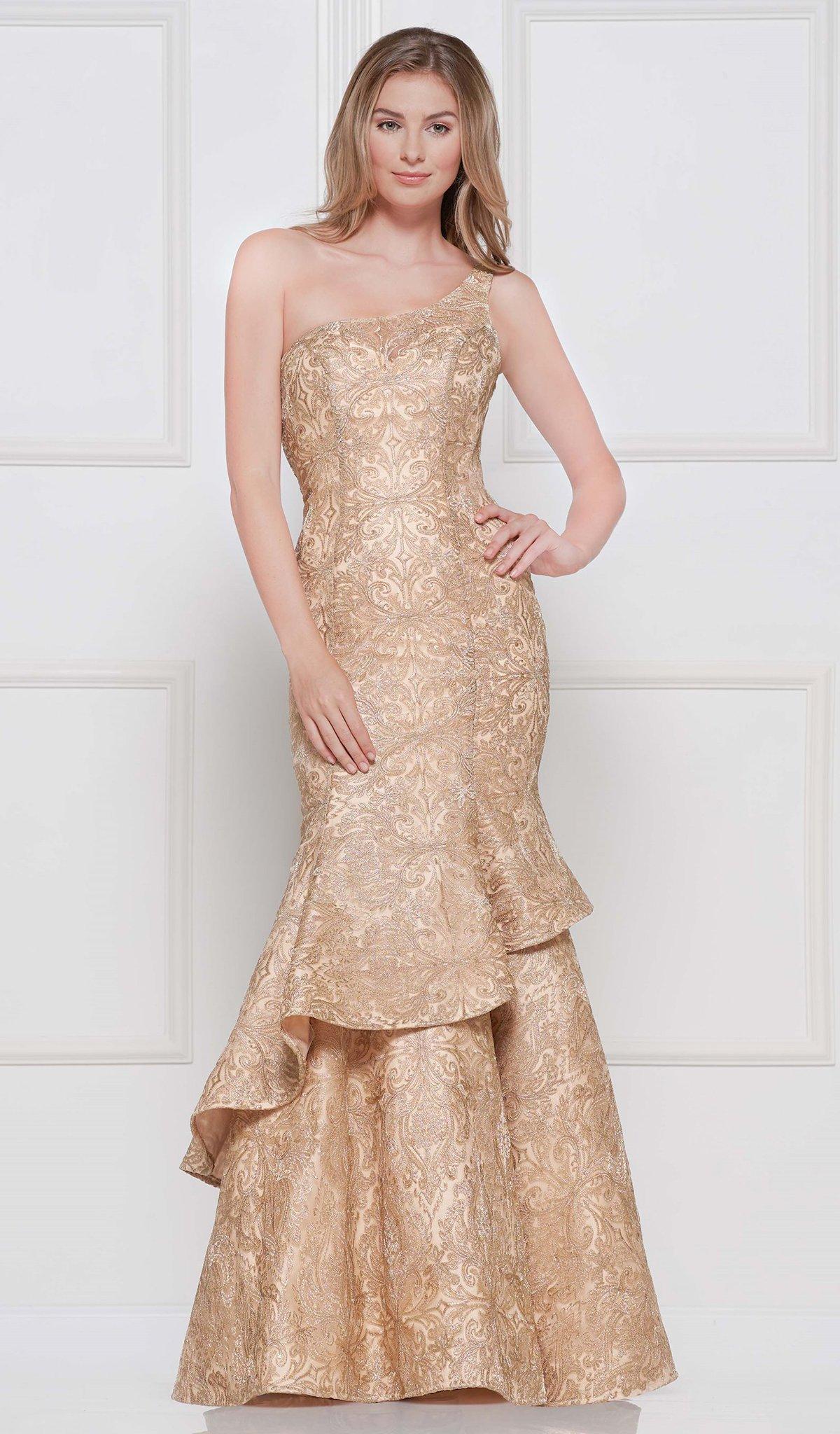 Colors Dress - 2096 Metallic Lace One Shoulder Trumpet Dress