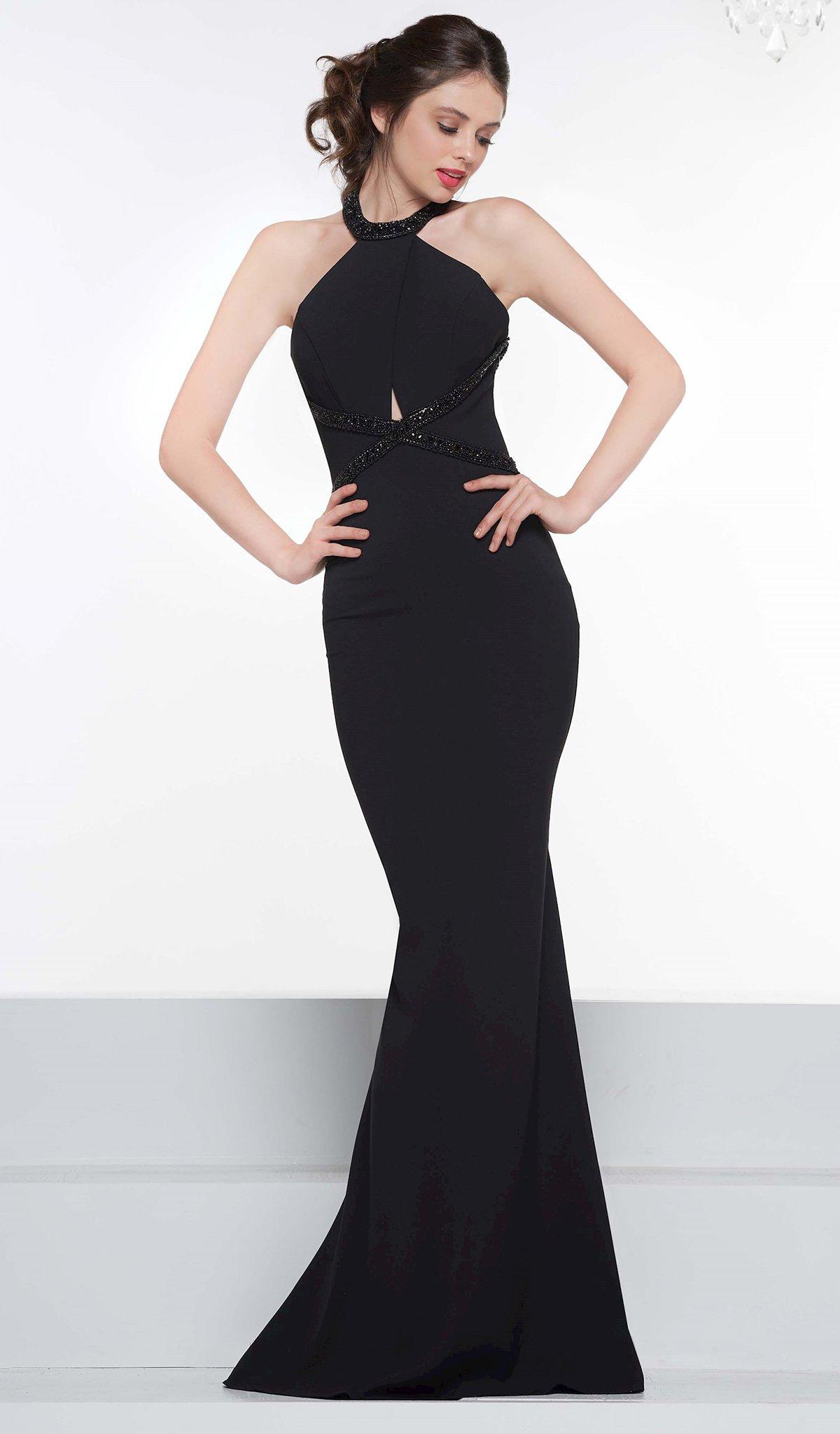 Colors Dress - 2099 Embellished Halter Stretch Crepe Trumpet Dress