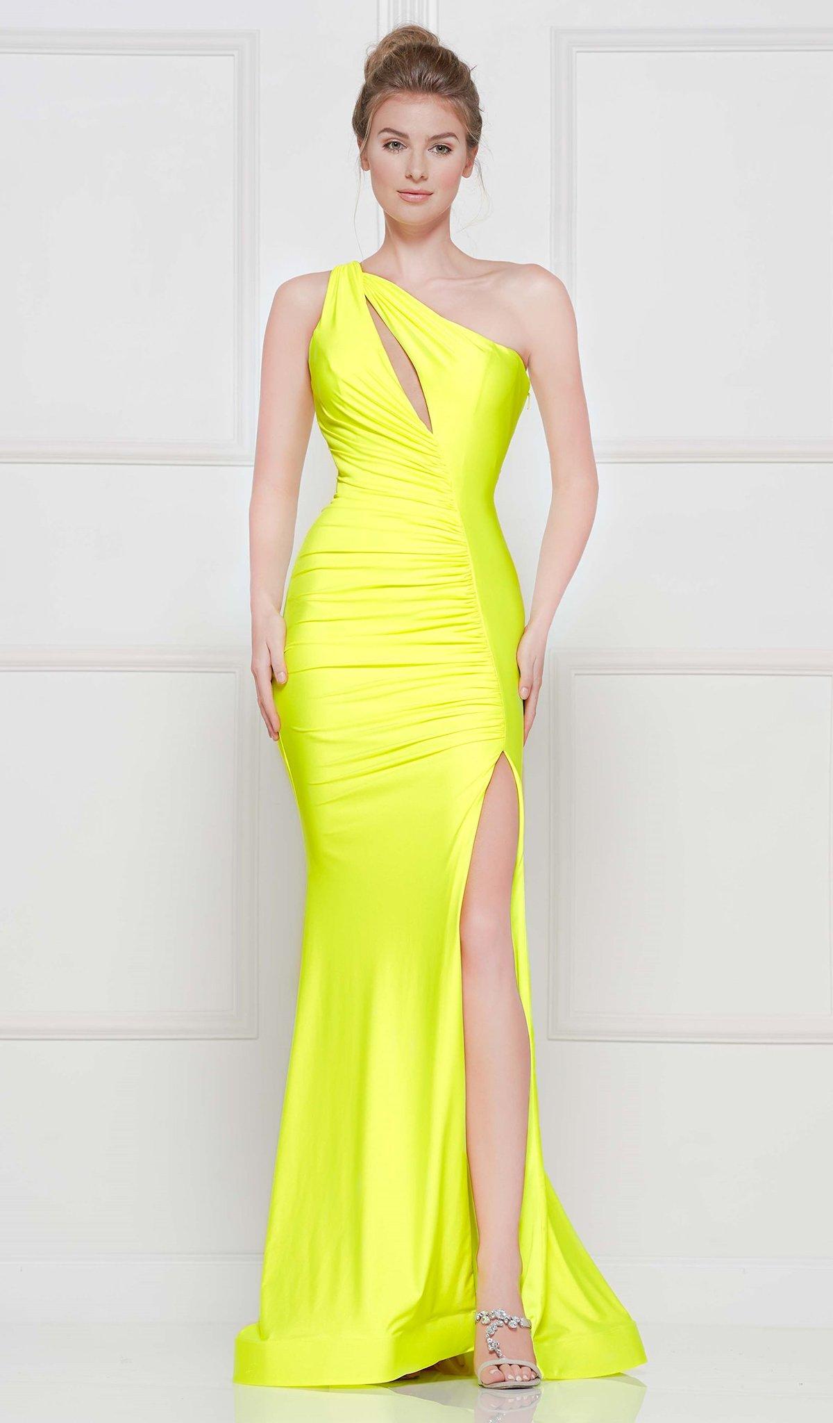 Colors Dress - 2101 One Shoulder Keyhole Cutout High Slit Satin Gown