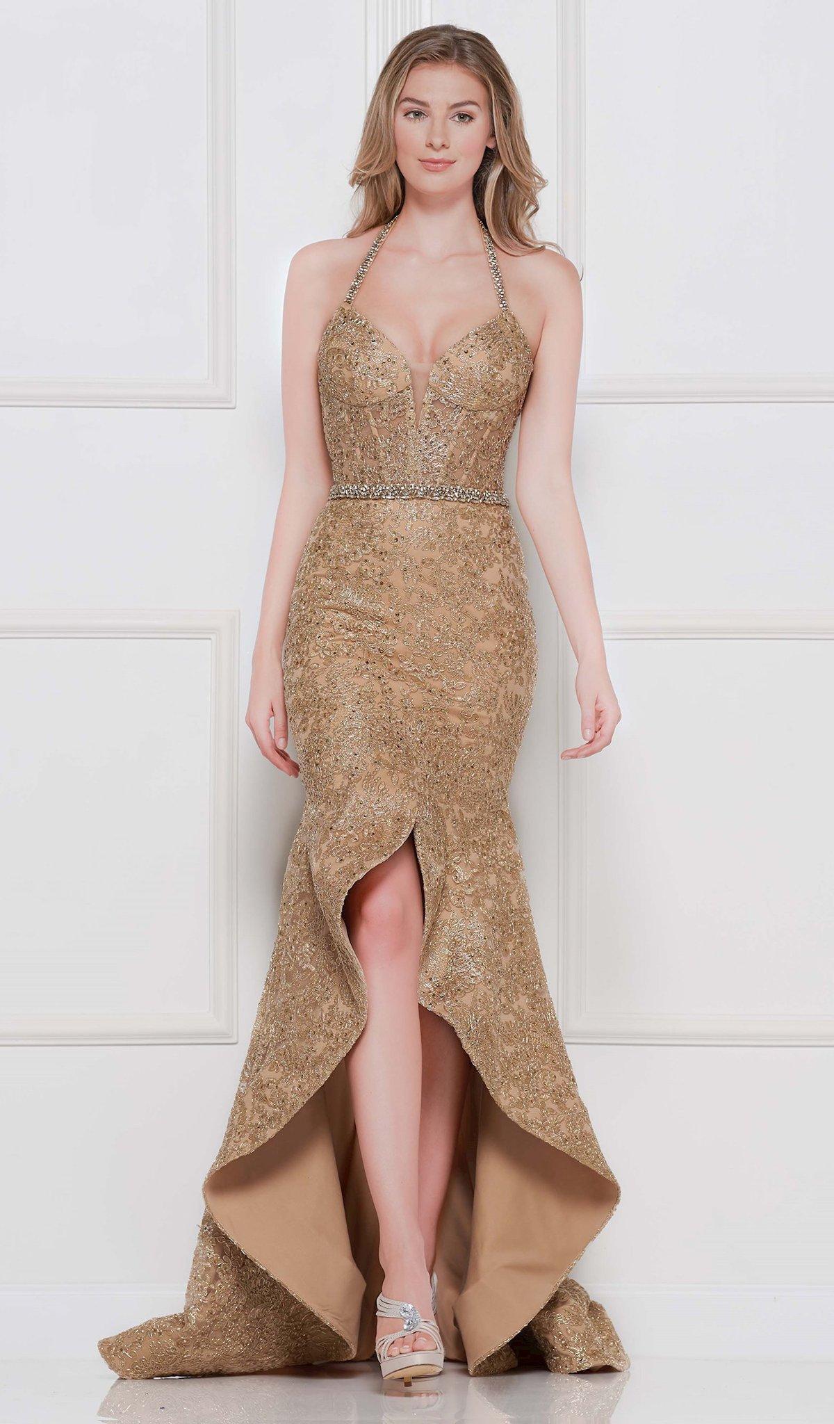 Colors Dress - 2102 Lace Plunging Halter V-neck High Low Trumpet Dress