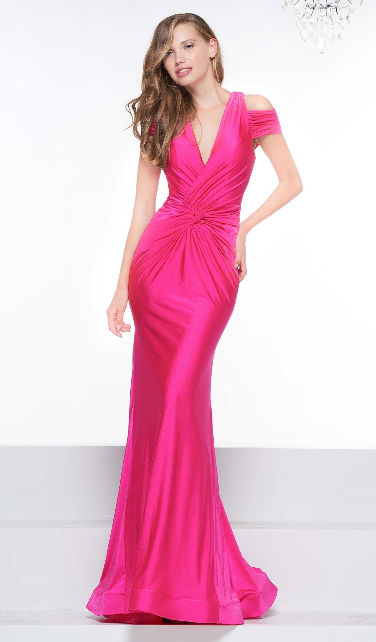Colors Dress - 2103 V Neck Cold Shoulder Knotted Satin Mermaid Gown