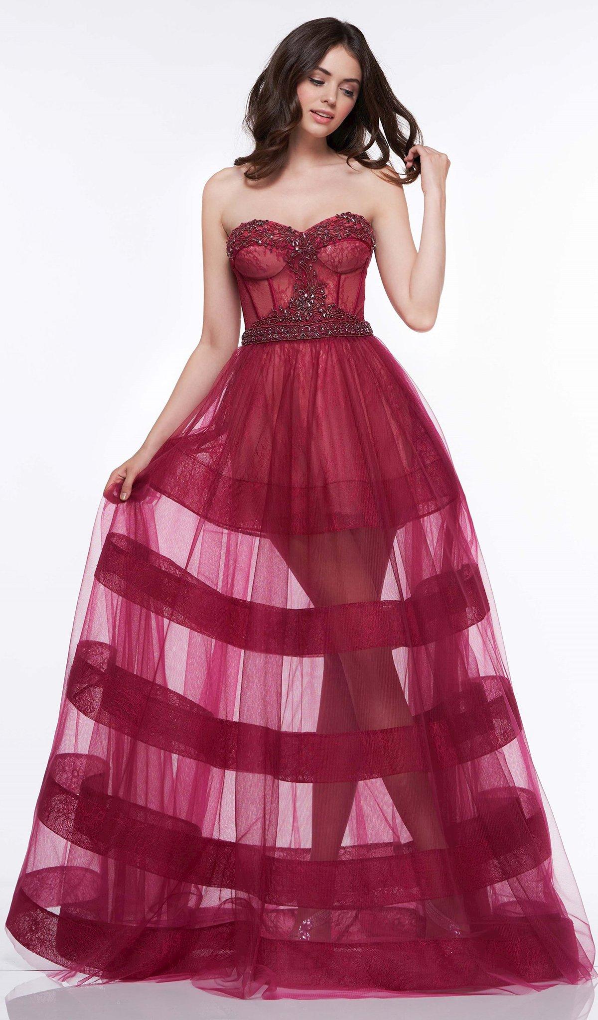 Colors Dress - 2108 Beaded Sweetheart Sheer Ballgown