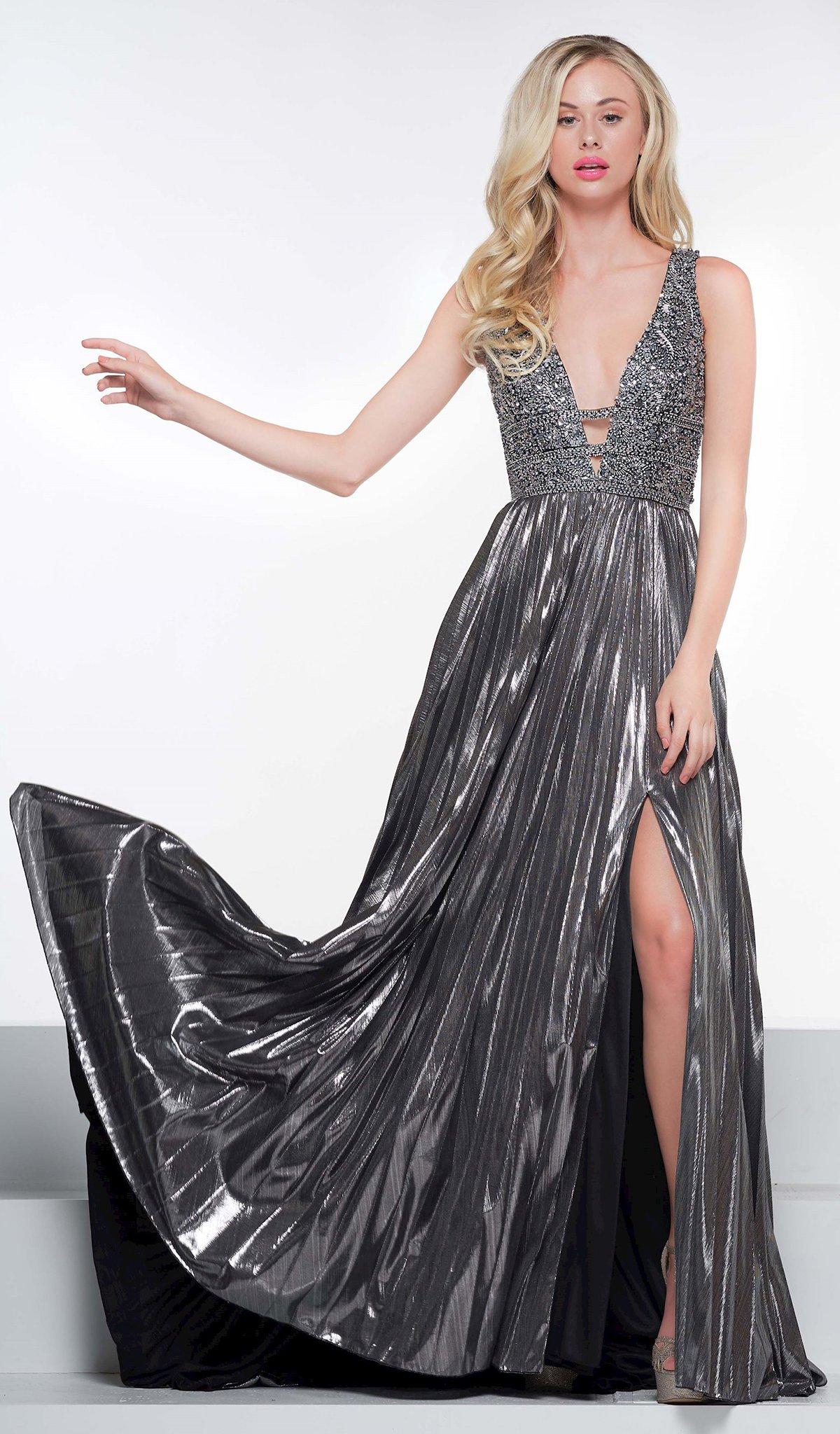 Colors Dress - 2115 Beaded Deep V-neck Metallic Foil Jersey Dress