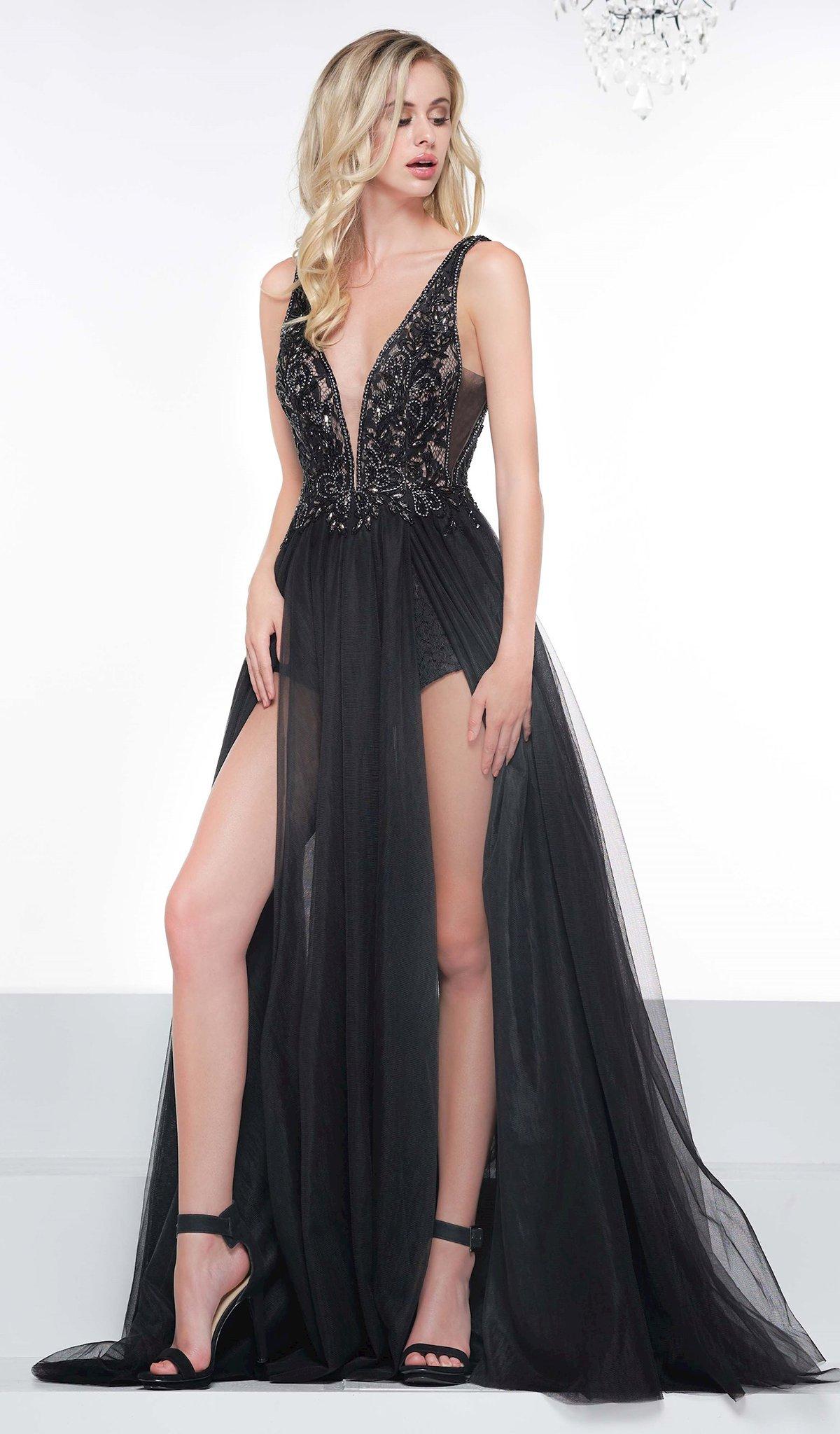 Colors Dress - 2117 Embellished Deep V-neck A-line Dress