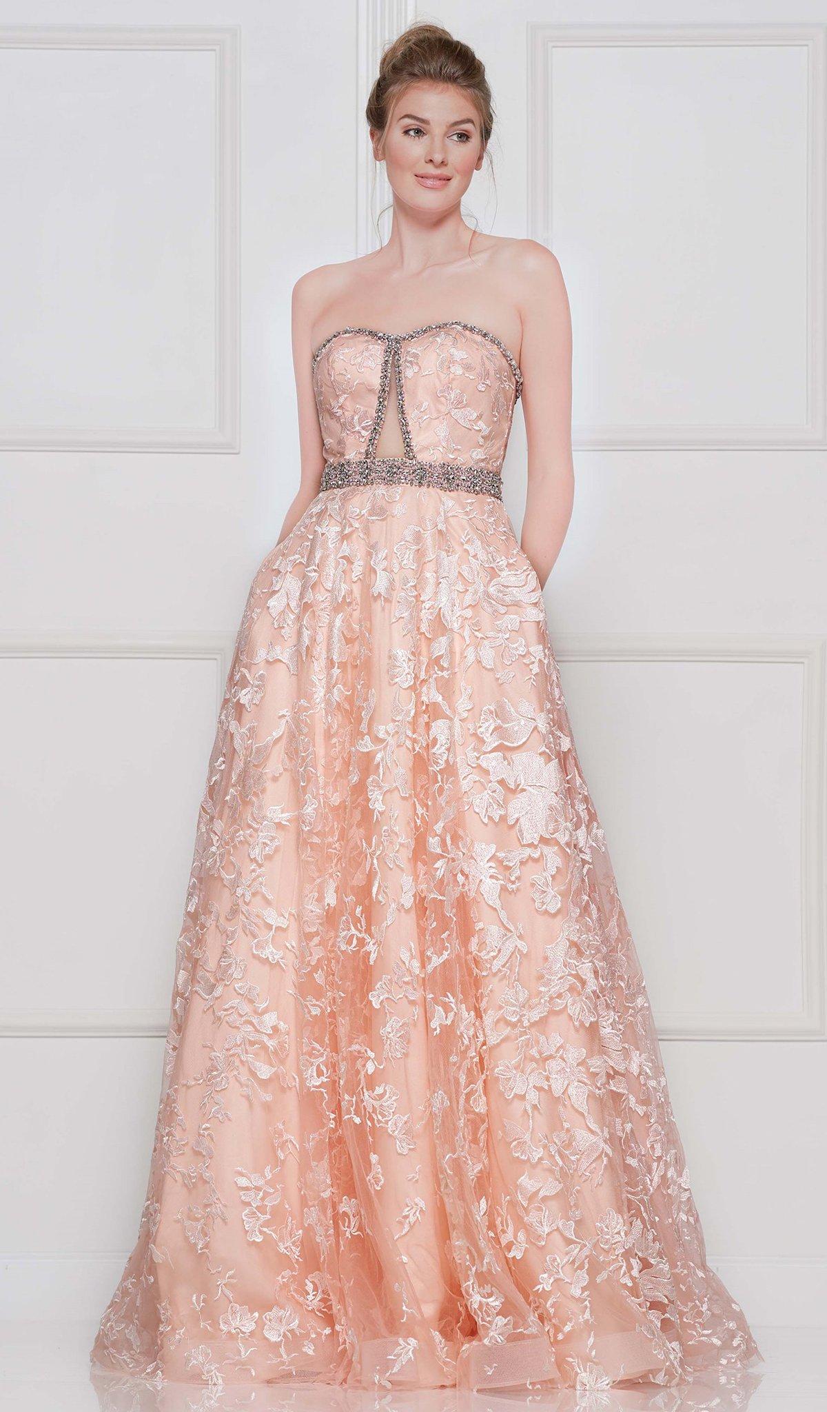 Colors Dress - 2127 Lace Applique Semi-Sweetheart A-line Dress