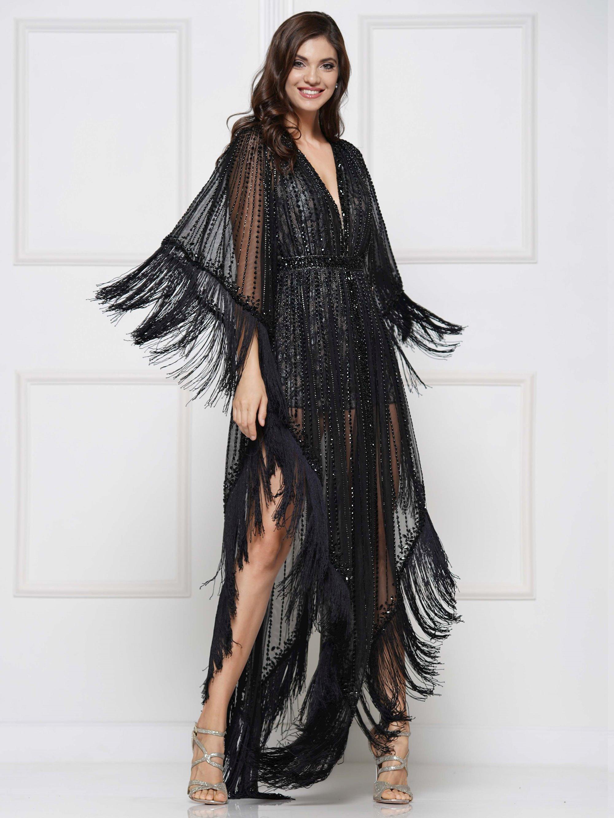 Colors Dress - 2136 Fringed Angel Sleeve Lace Romper Ensemble