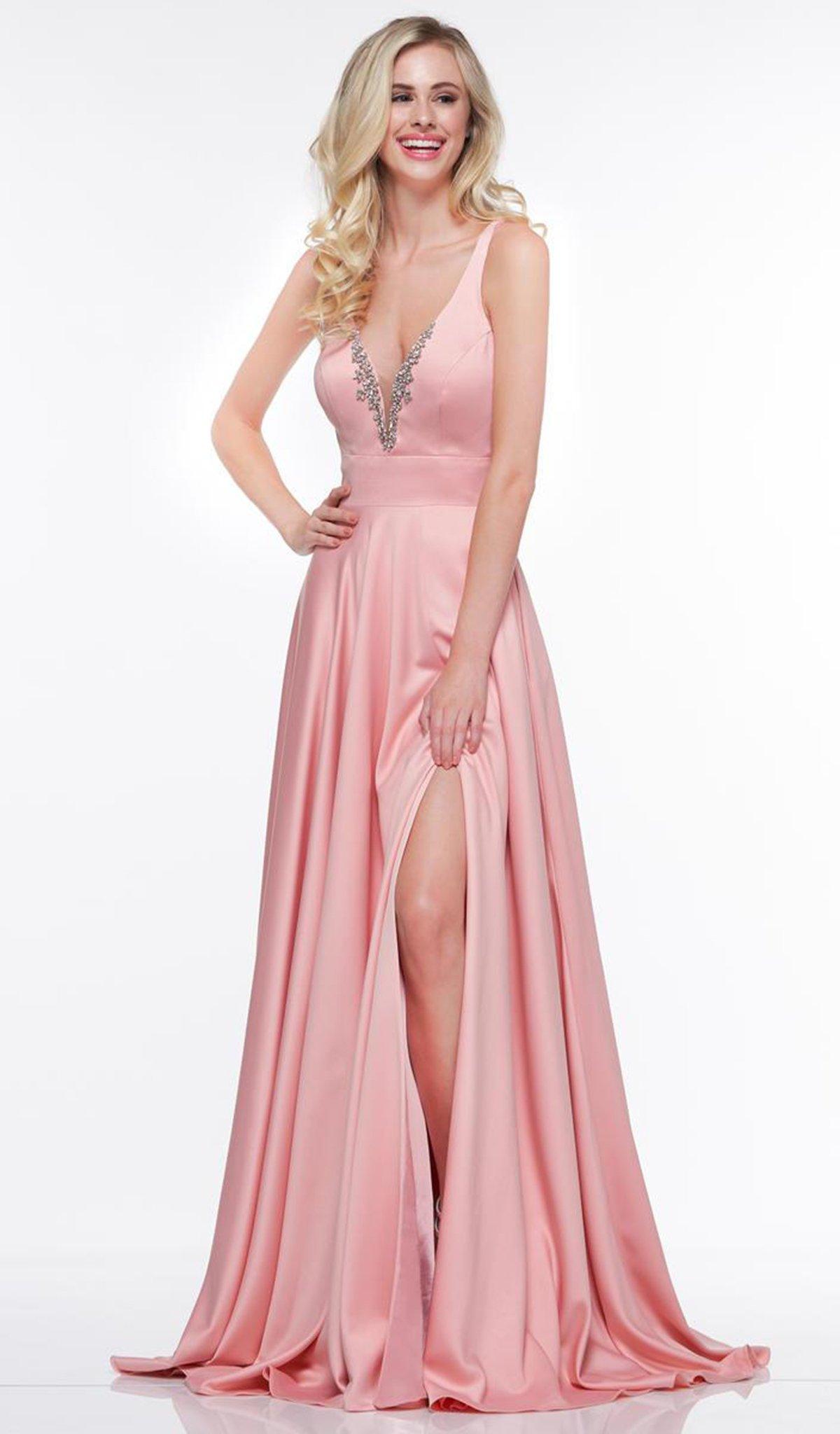 Glow by Colors - G813 Embellished Deep V-neck A-line Dress