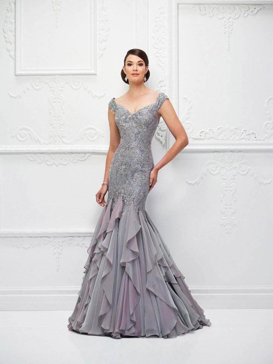 Ivonne D for Mon Cheri - 118D01W Metallic Lace Chiffon Dress