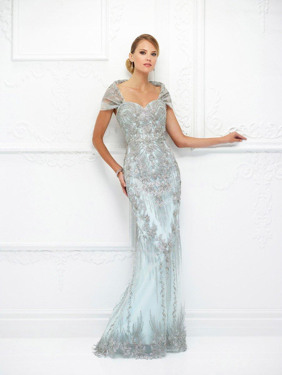 Ivonne D for Mon Cheri - 118D04W Metallic Lace Sheath Dress
