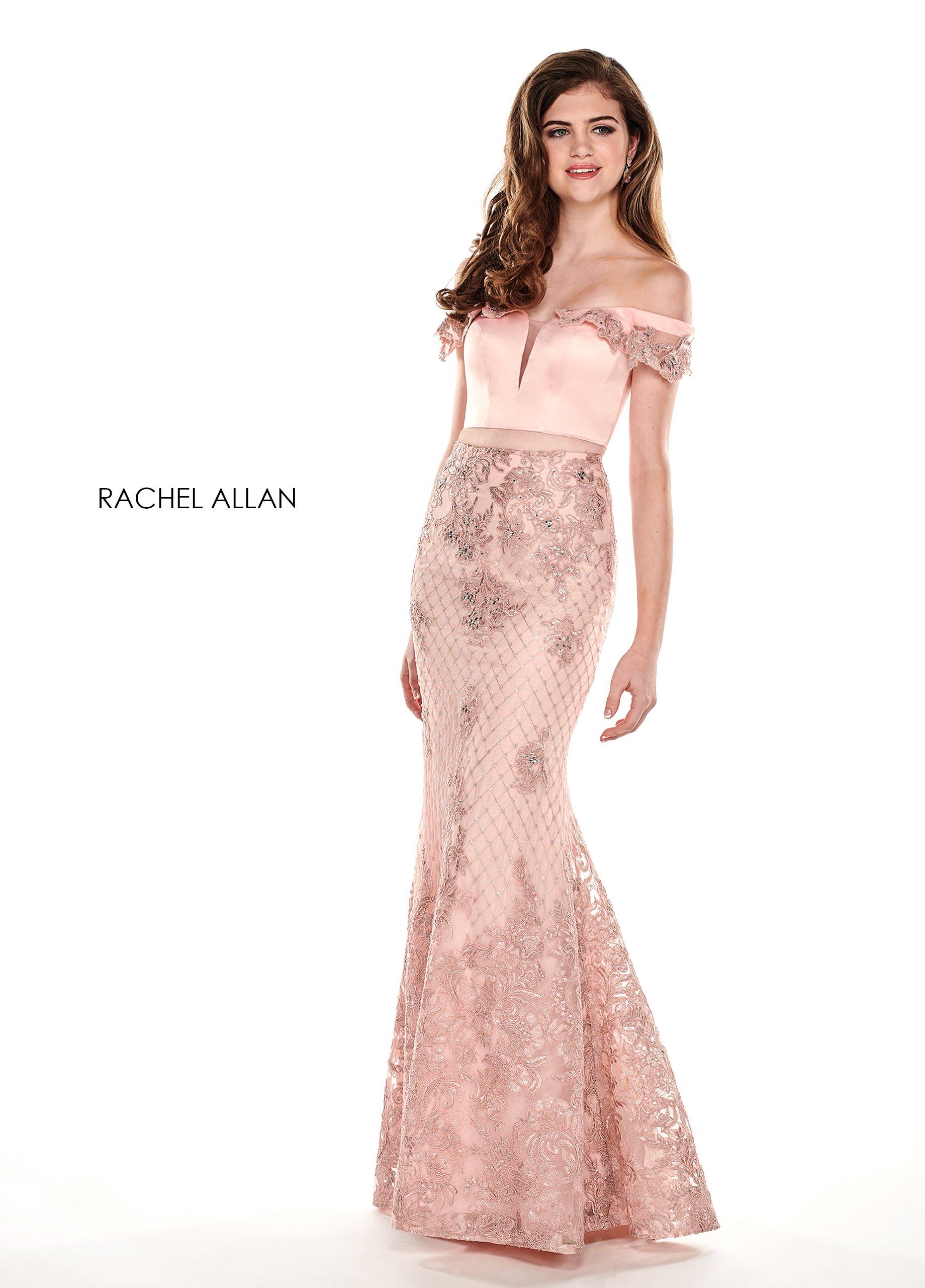 Rachel Allan - 6407 Embroidered Two Piece Off-Shoulder Trumpet Dress