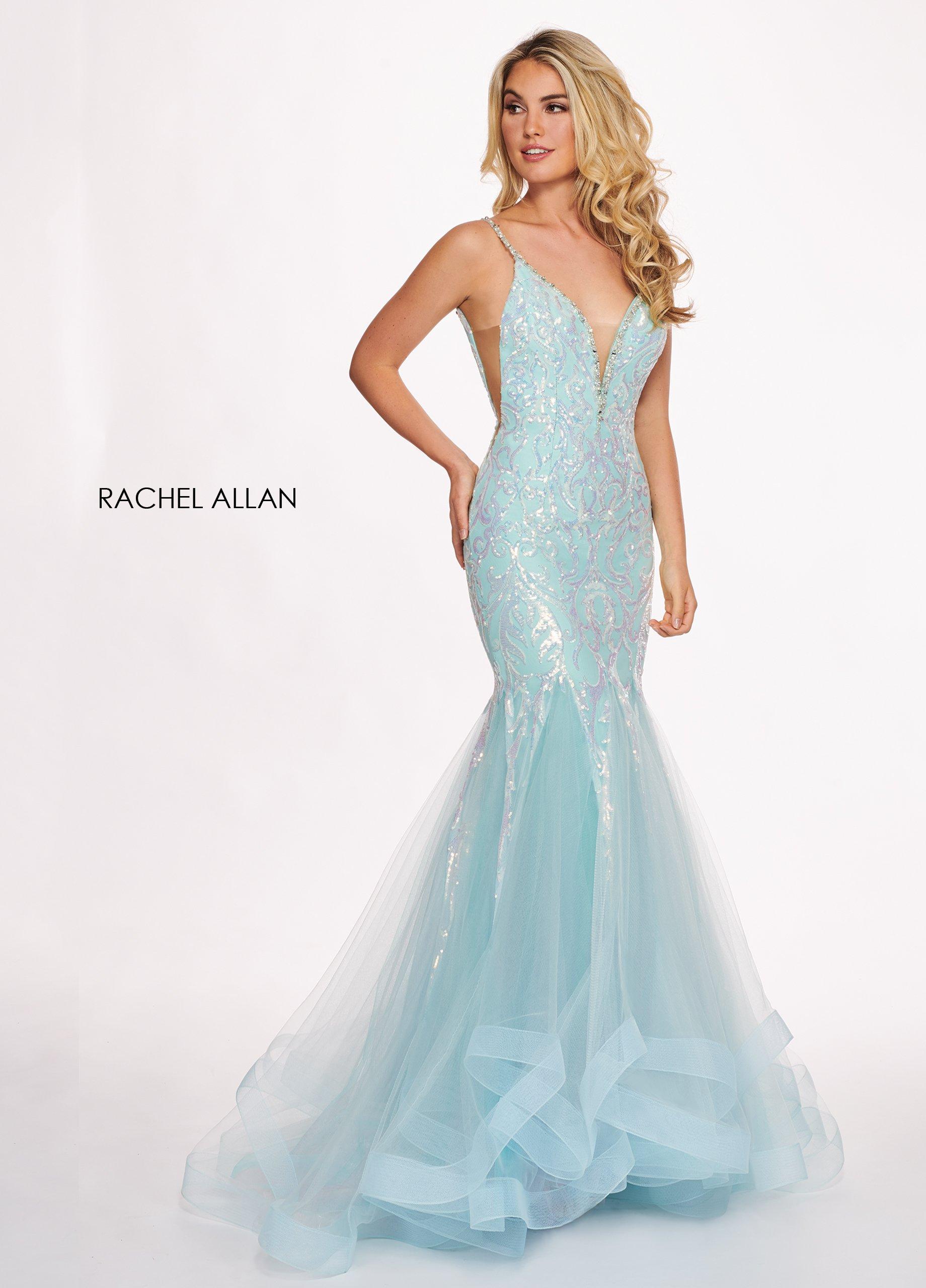 Rachel Allan - 6409 Sequined Deep V-neck Tulle Mermaid Dress