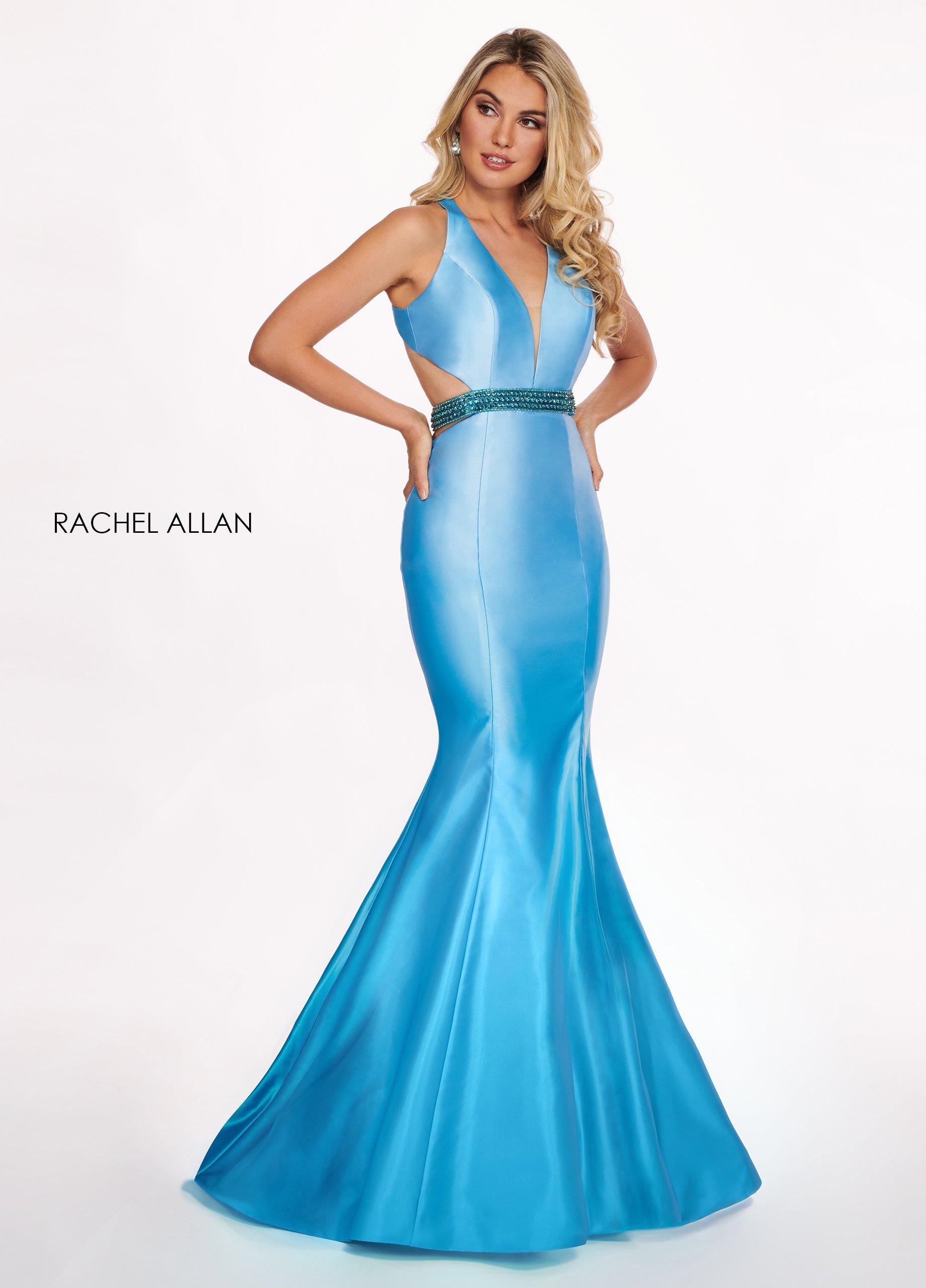 Rachel Allan - 6413 V Neck Beaded Waist Matte Satin Mermaid Gown