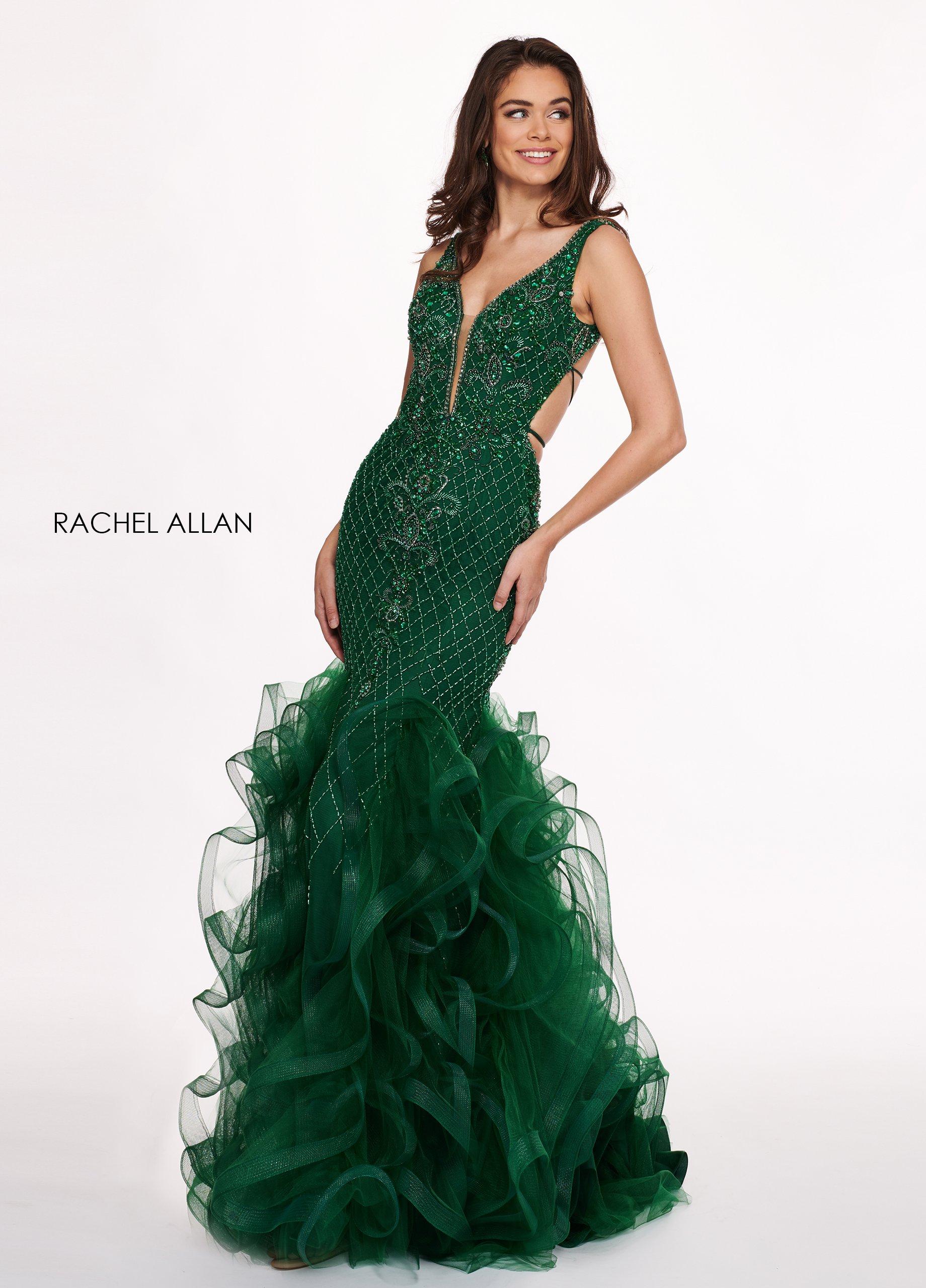 Rachel Allan - 6420 Beaded Deep V-neck Ruffled Tulle Mermaid Dress