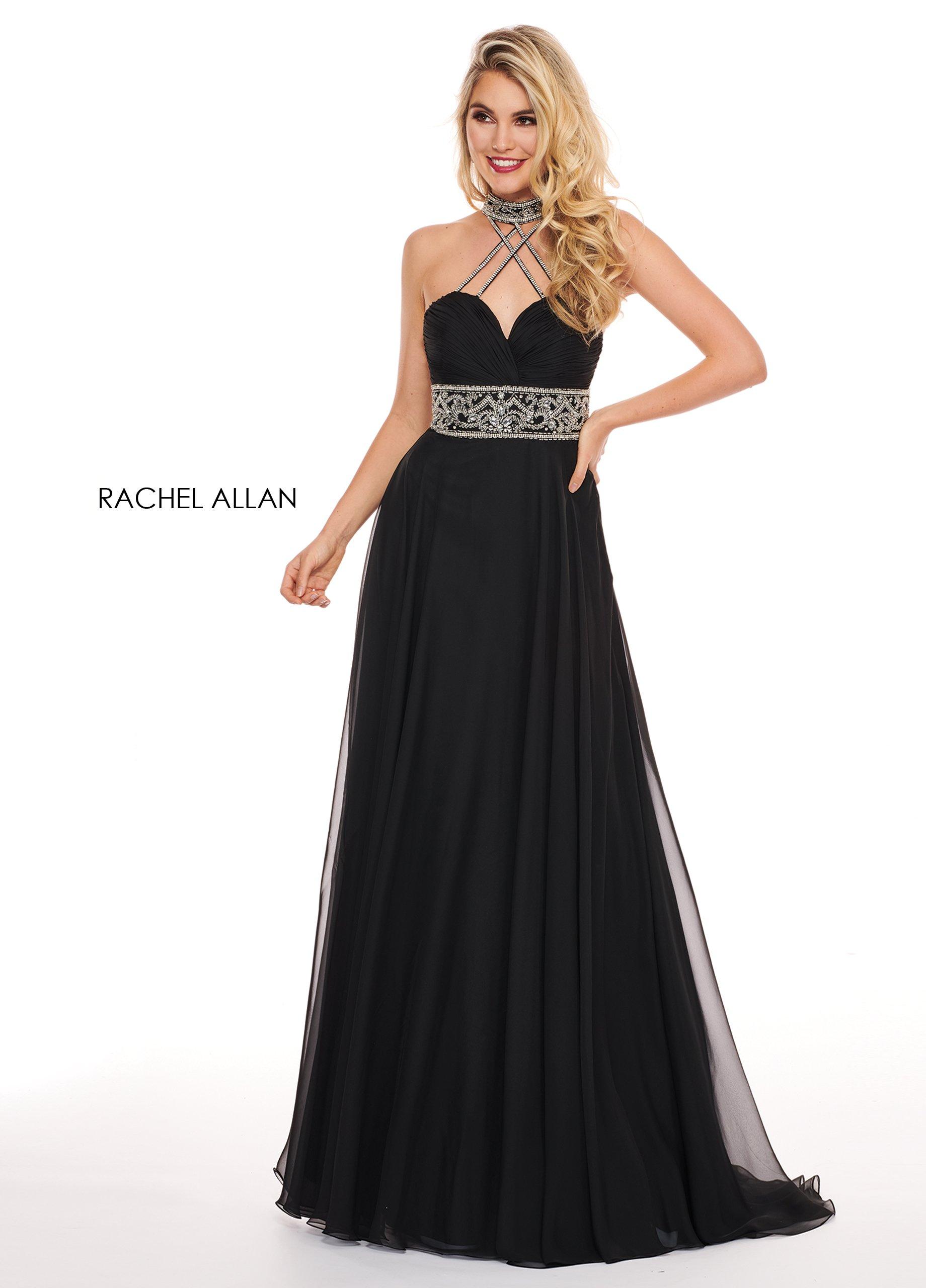 Rachel Allan - 6421 Rhinestone Ornate Collared Sweetheart Chiffon Gown