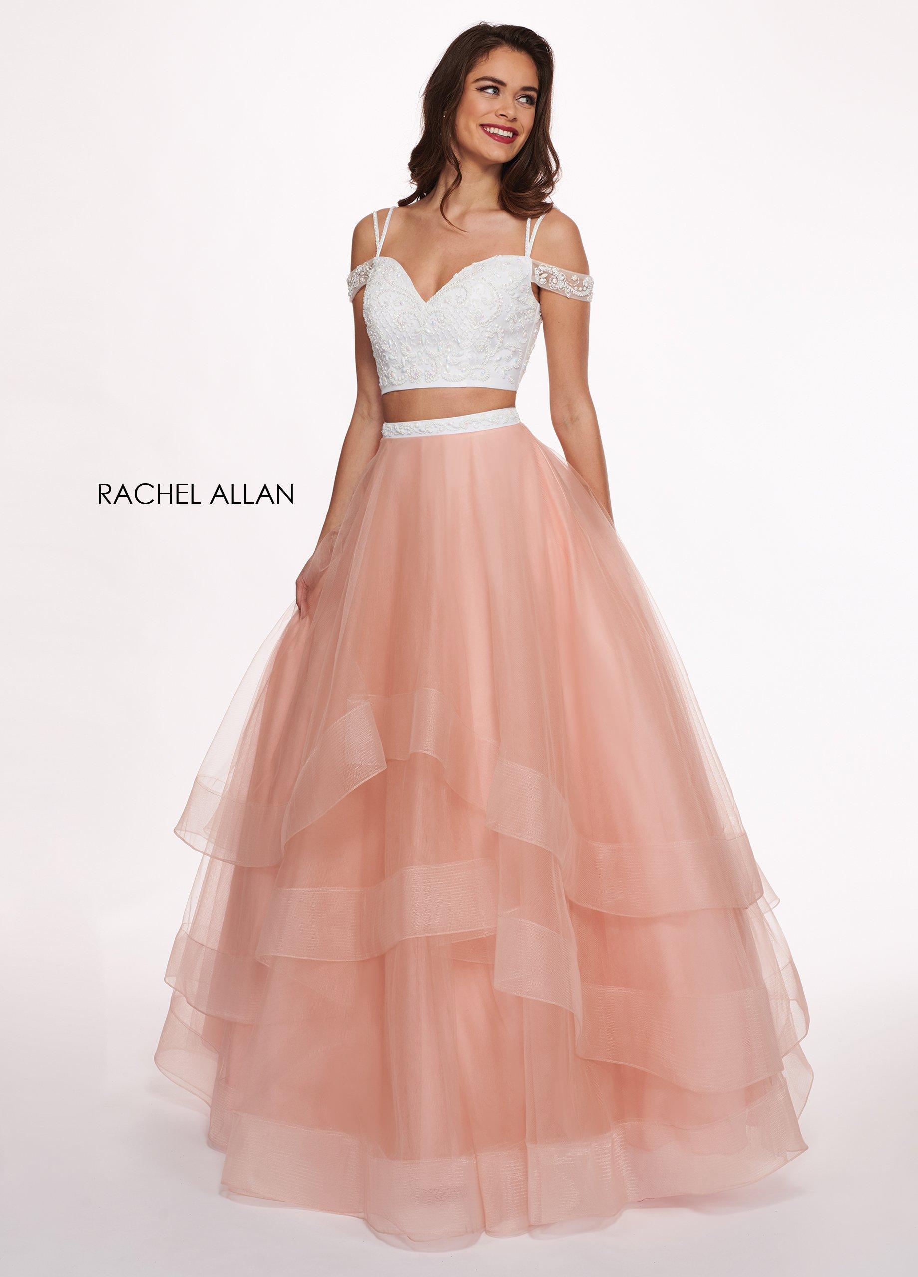 Rachel Allan - 6434 Two Piece Cold Shoulder Crop Top Tulle Prom Dress