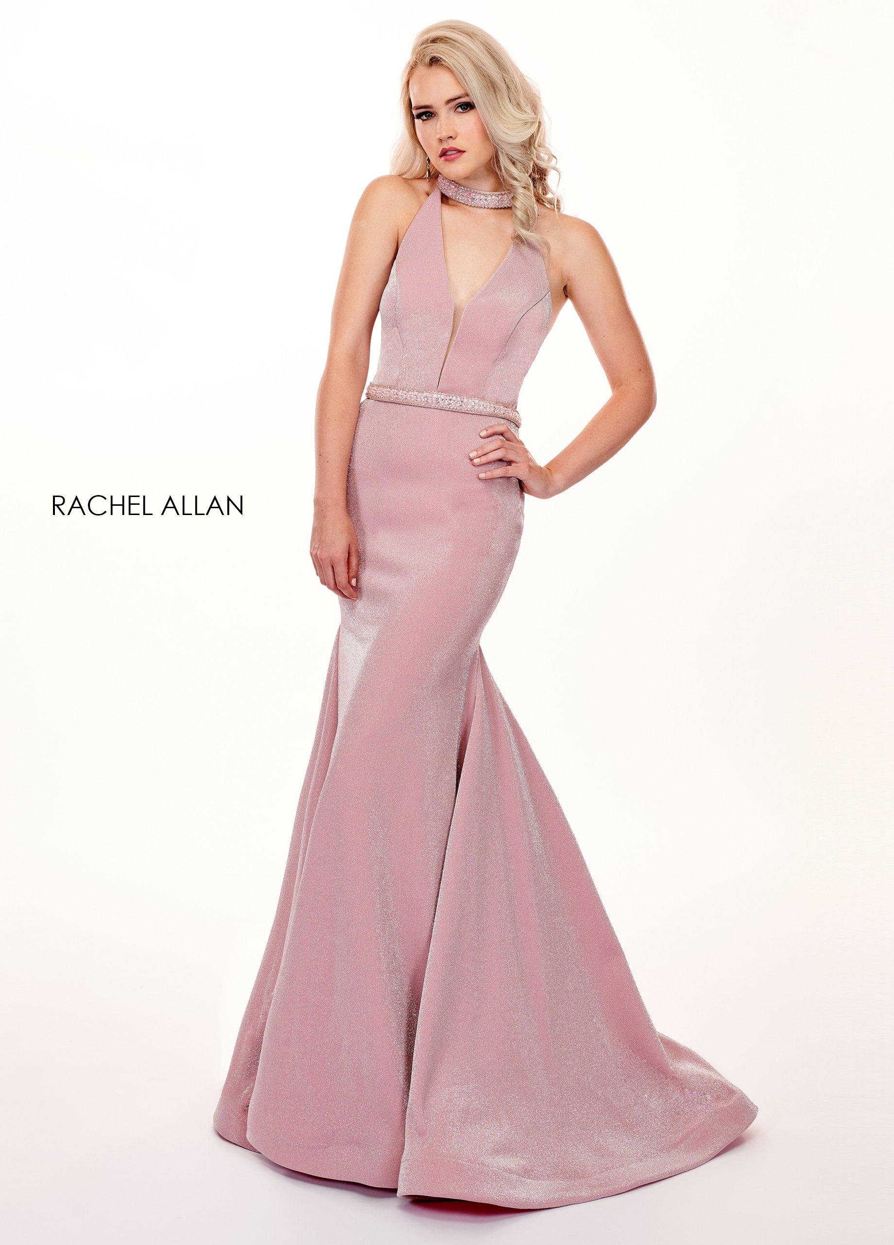 Rachel Allan - 6436 Beaded High Halter Metallic Jersey Mermaid Dress