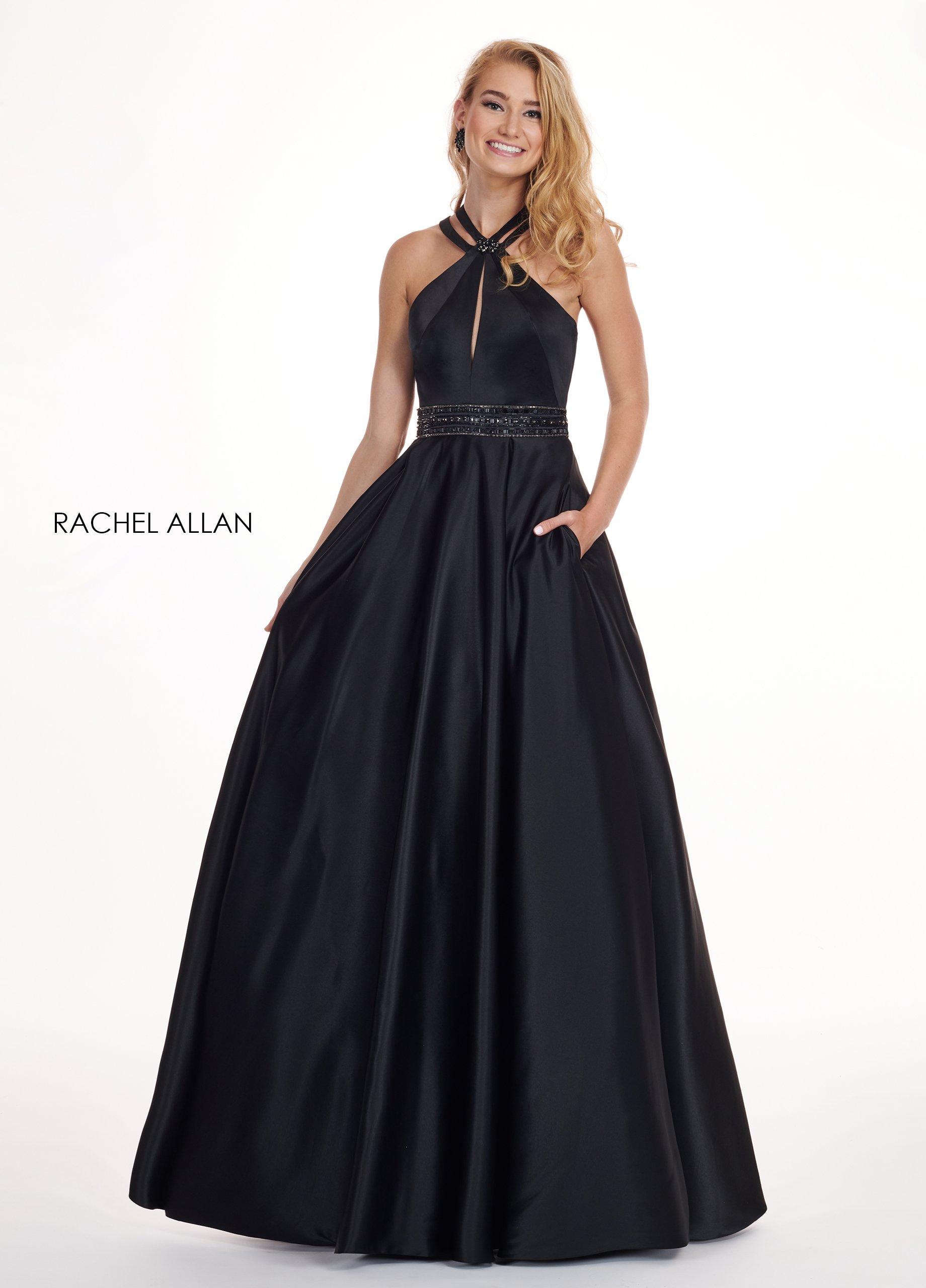 Rachel Allan - 6464 Double Strap Halter Satin A-Line Prom Dress