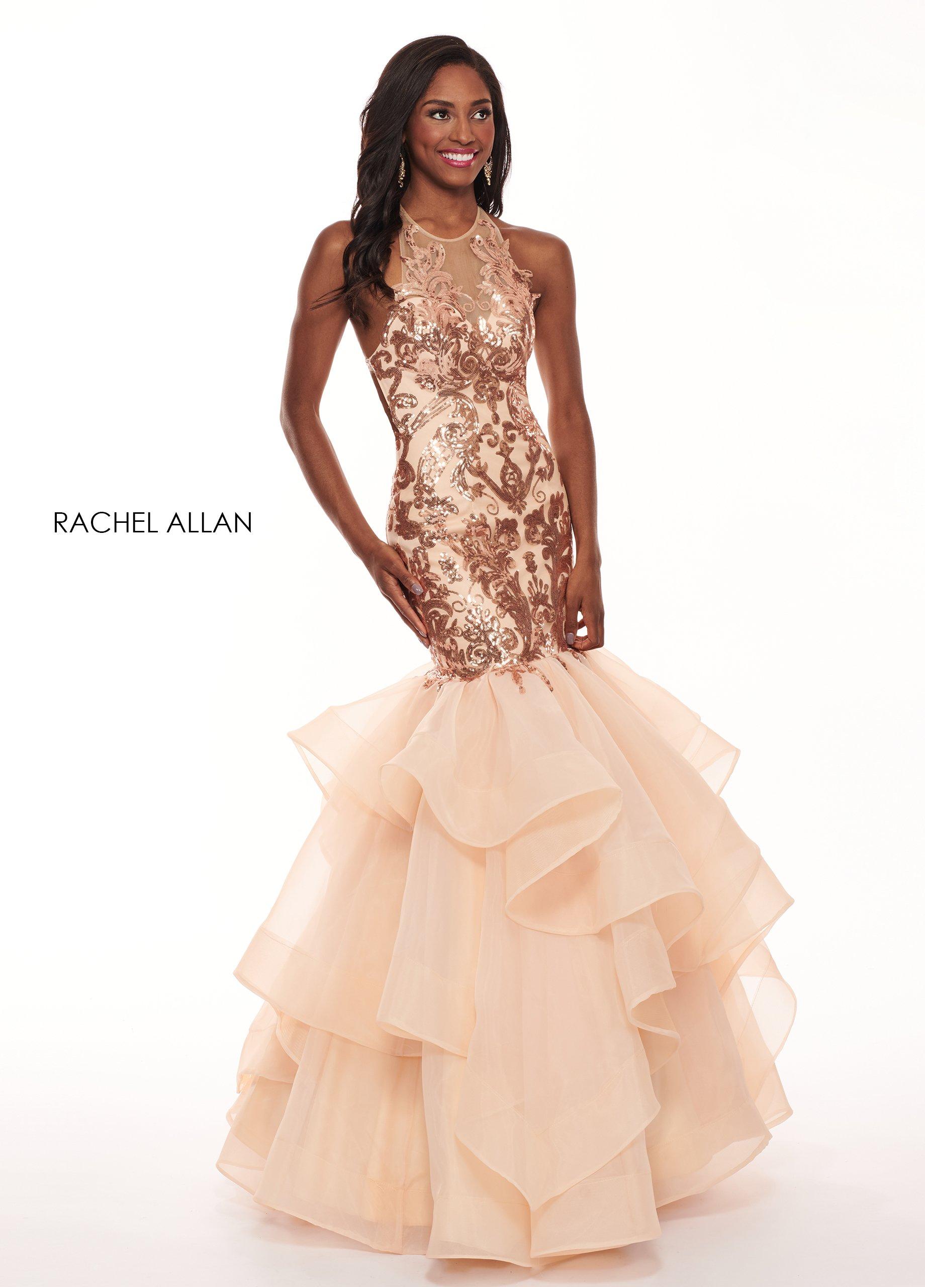 Rachel Allan - 6582 Sequined Halter Ruffled Mermaid Dress
