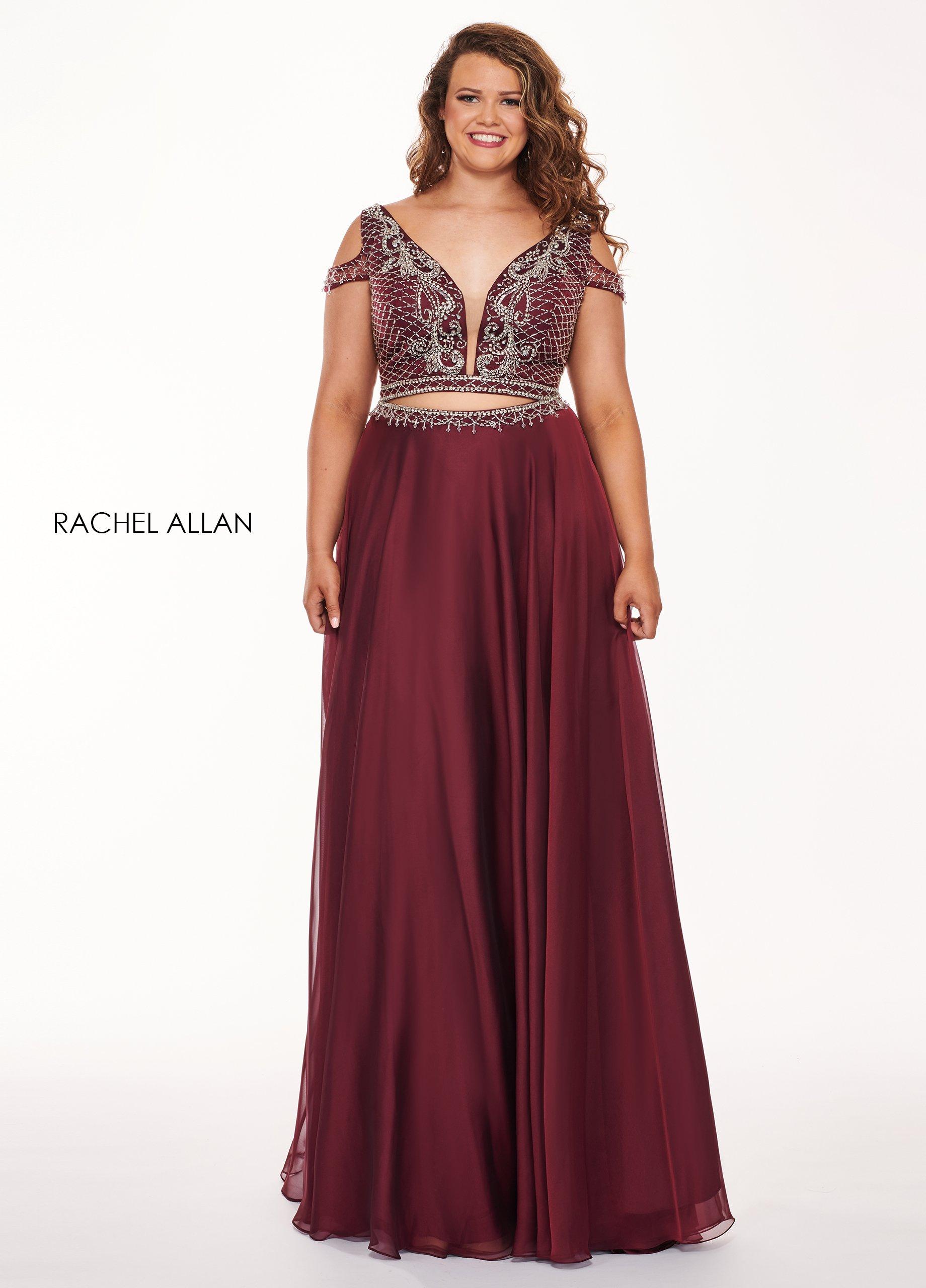 Rachel Allan Curves - 6693 Two Piece Beaded Chiffon A-line Dress