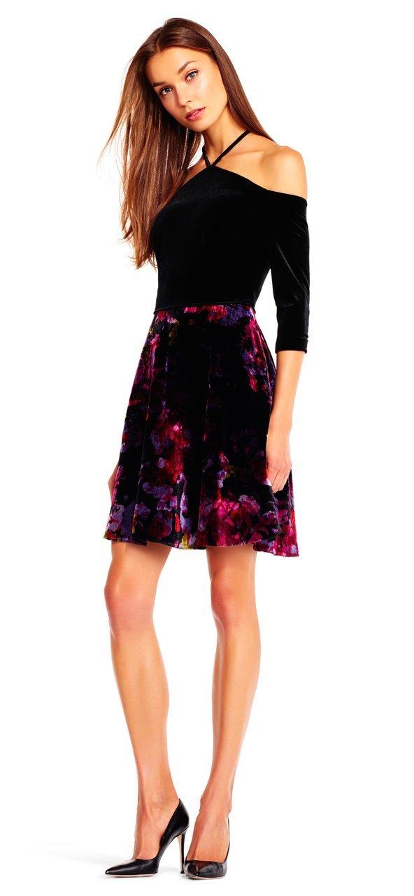 Aidan Mattox - Aidan by MN1E201321 Floral Print Velvet Dress