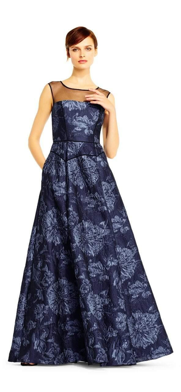 Aidan Mattox - MD1E201452 Sleeveless Floral Jacquard Ballgown