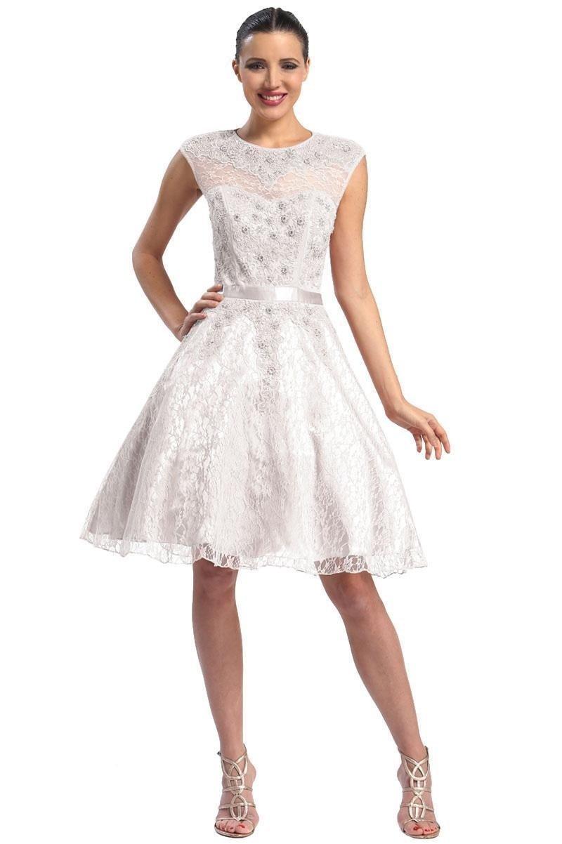 Sue Wong - Cap sleeved Jewel Neck A-Line Dress N5212